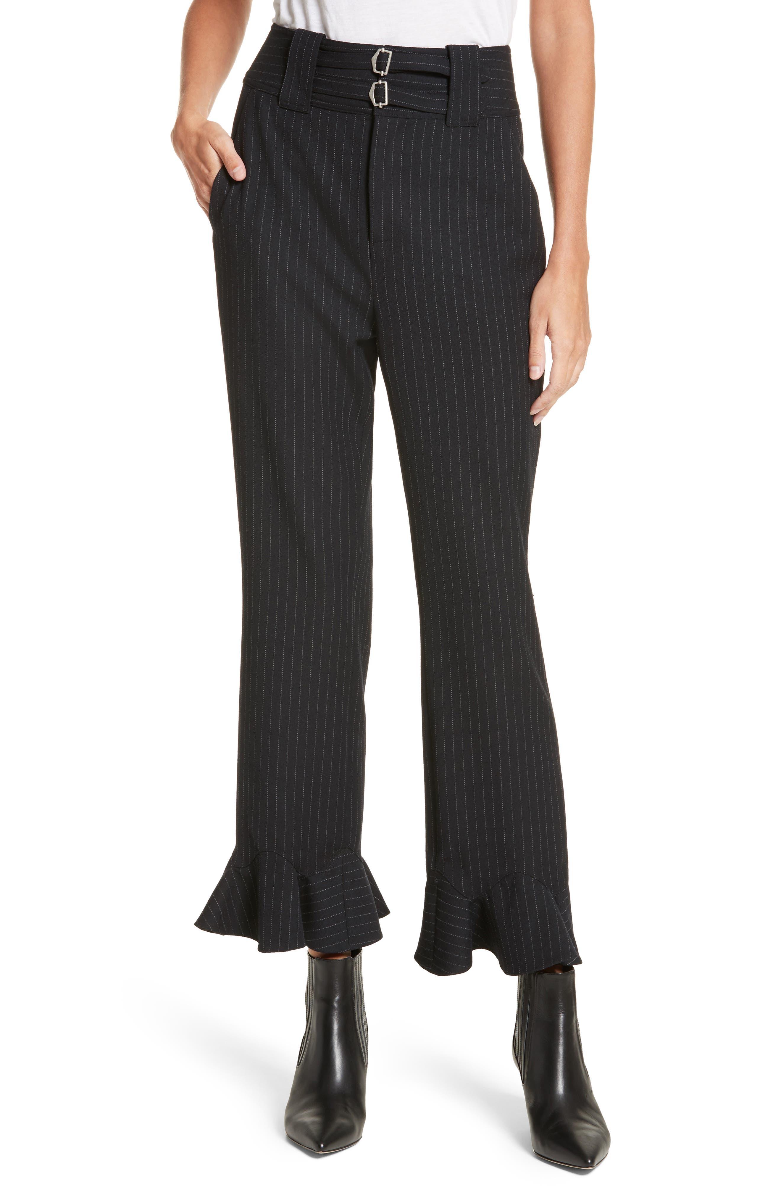 Rebecca Taylor Pinstripe Ruffle Pants