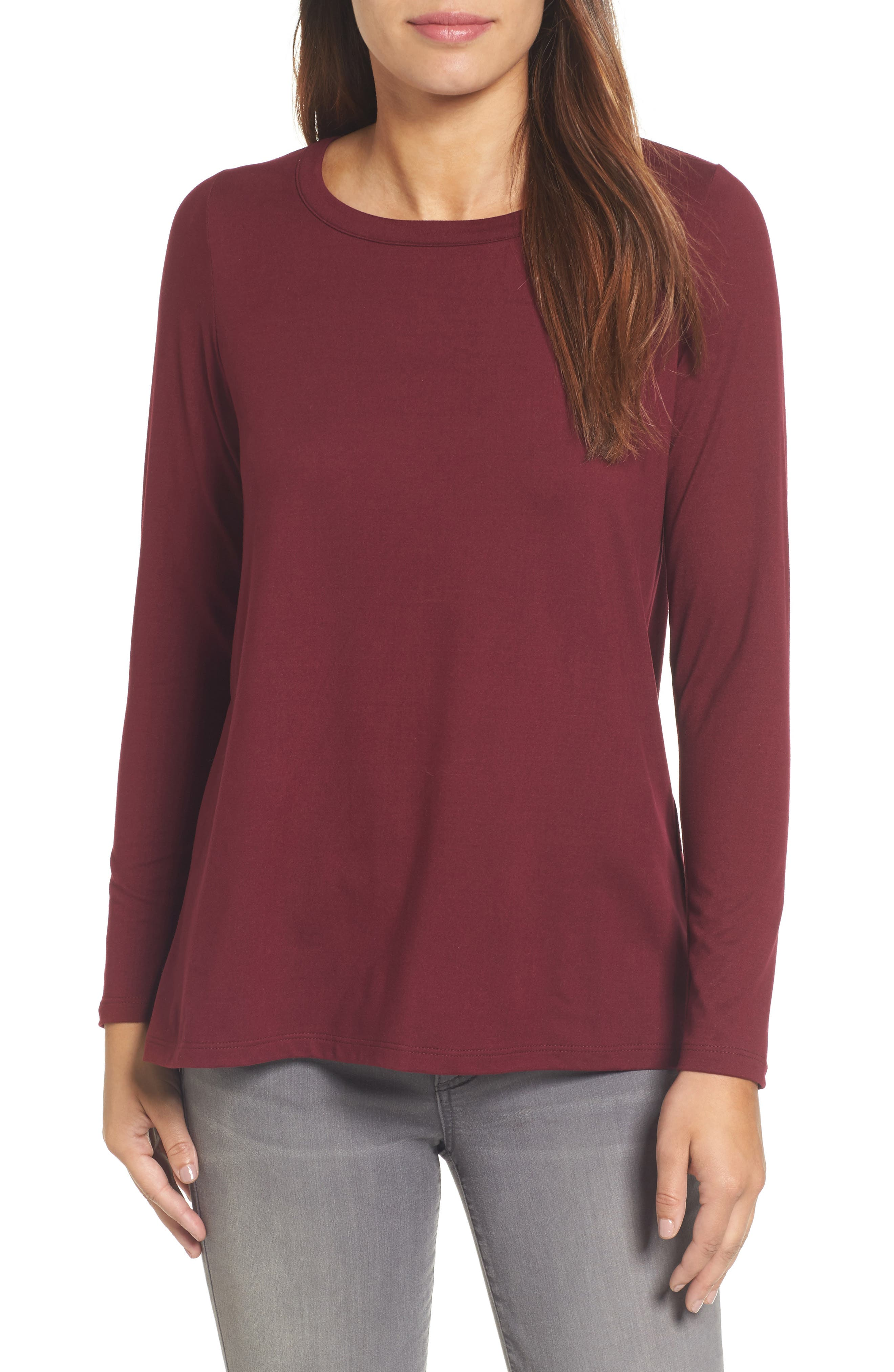 High/Low Bow Back Top,                         Main,                         color, Burgundy