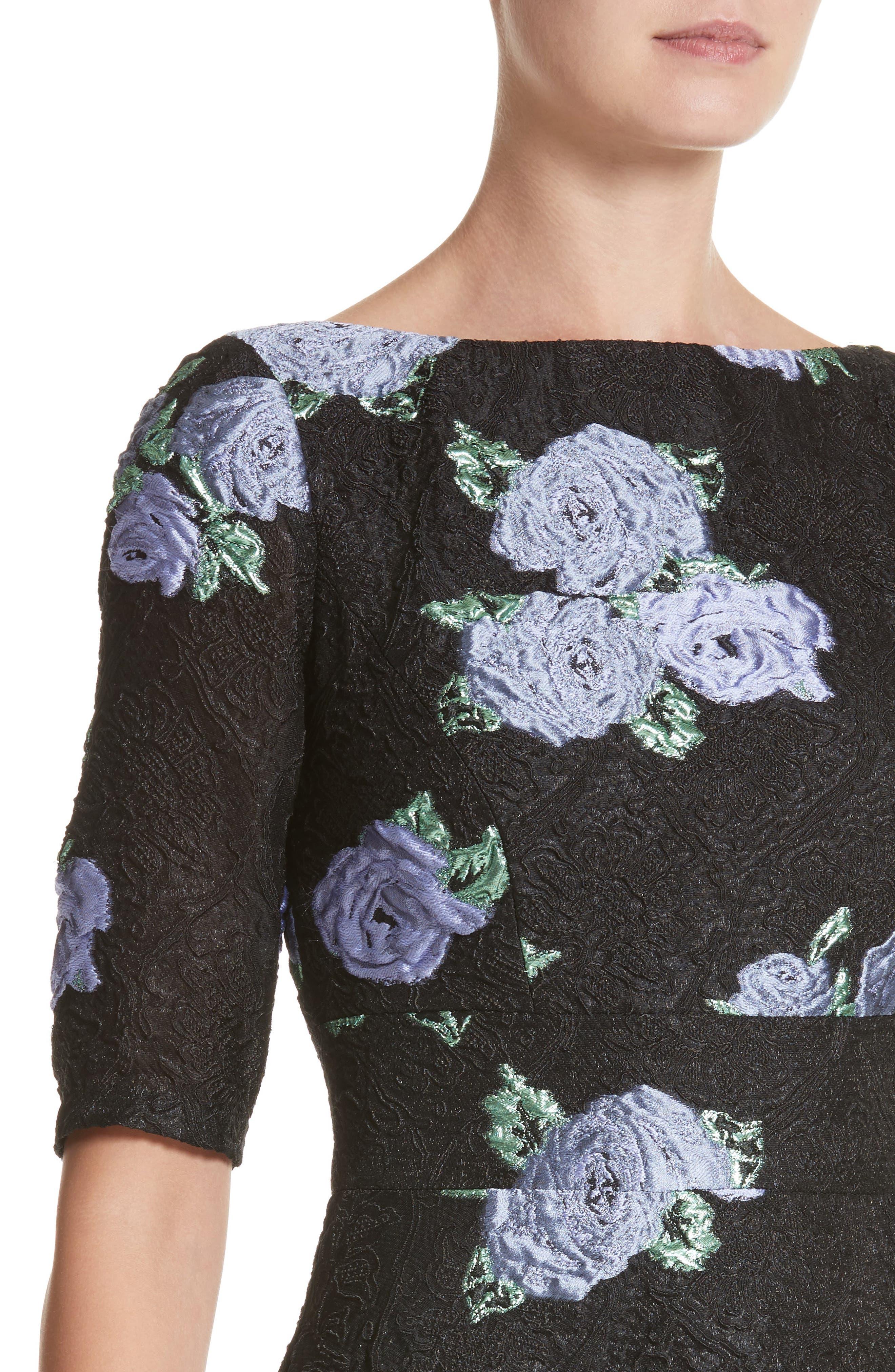 Floral Matelassé Fit & Flare Dress,                             Alternate thumbnail 4, color,                             Black Multi