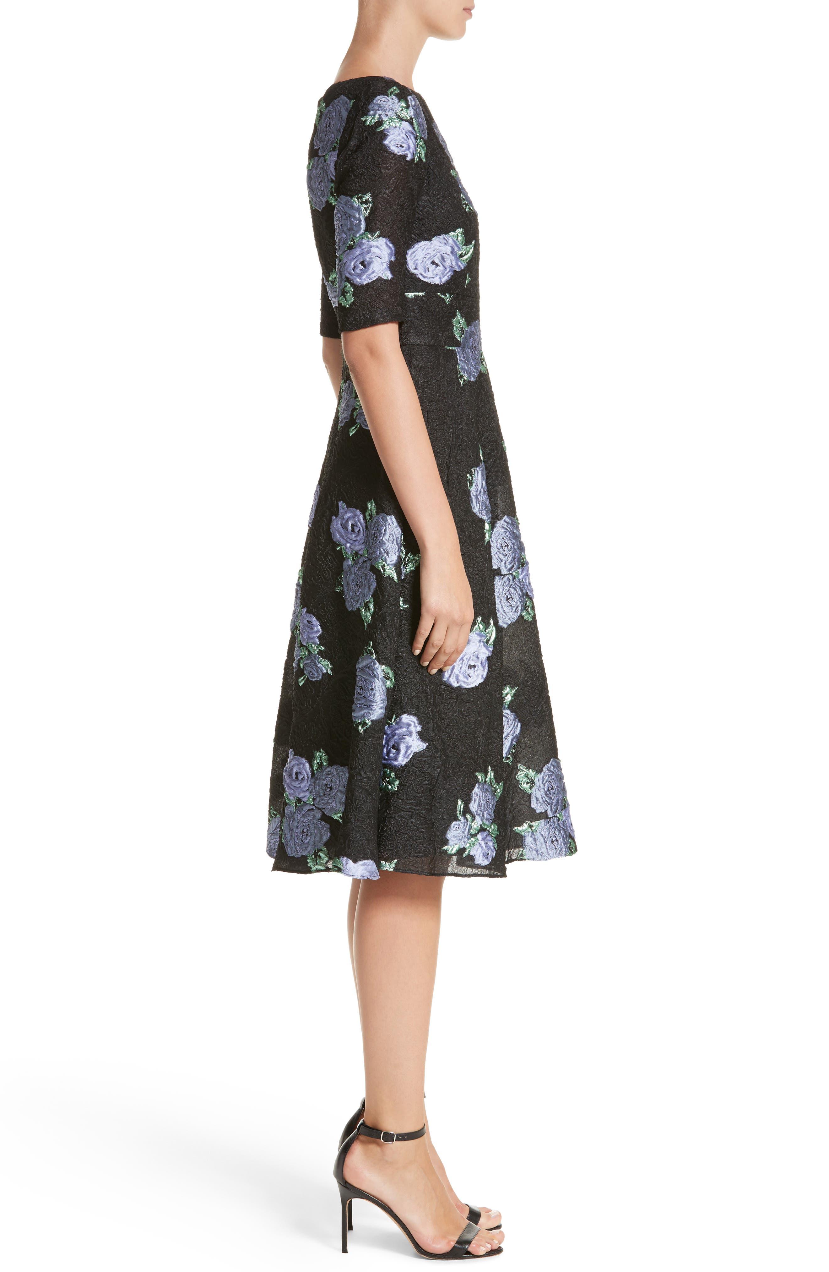 Floral Matelassé Fit & Flare Dress,                             Alternate thumbnail 3, color,                             Black Multi