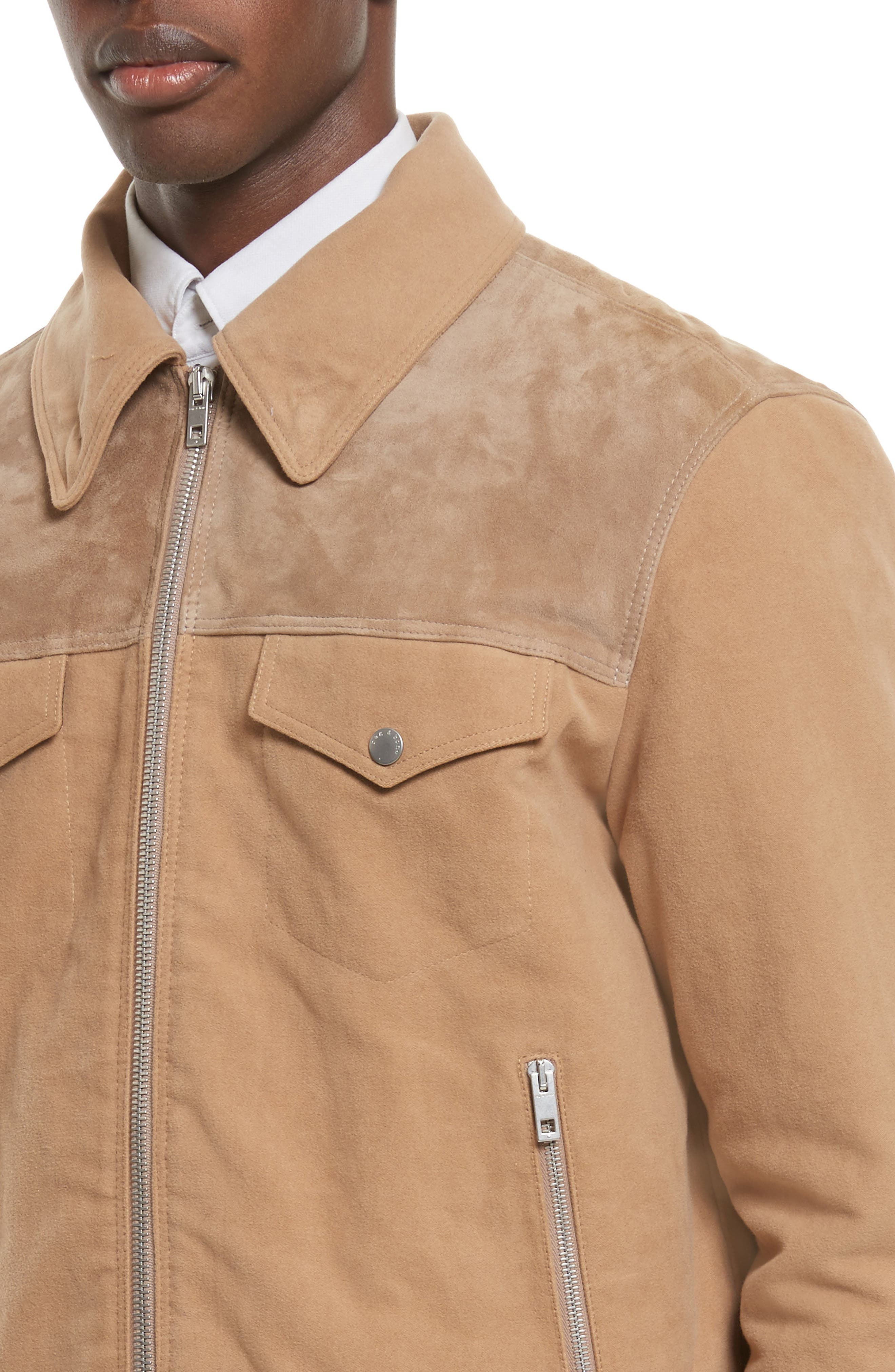 Matthew Work Jacket with Genuine Shearling Collar,                             Alternate thumbnail 4, color,                             Camel