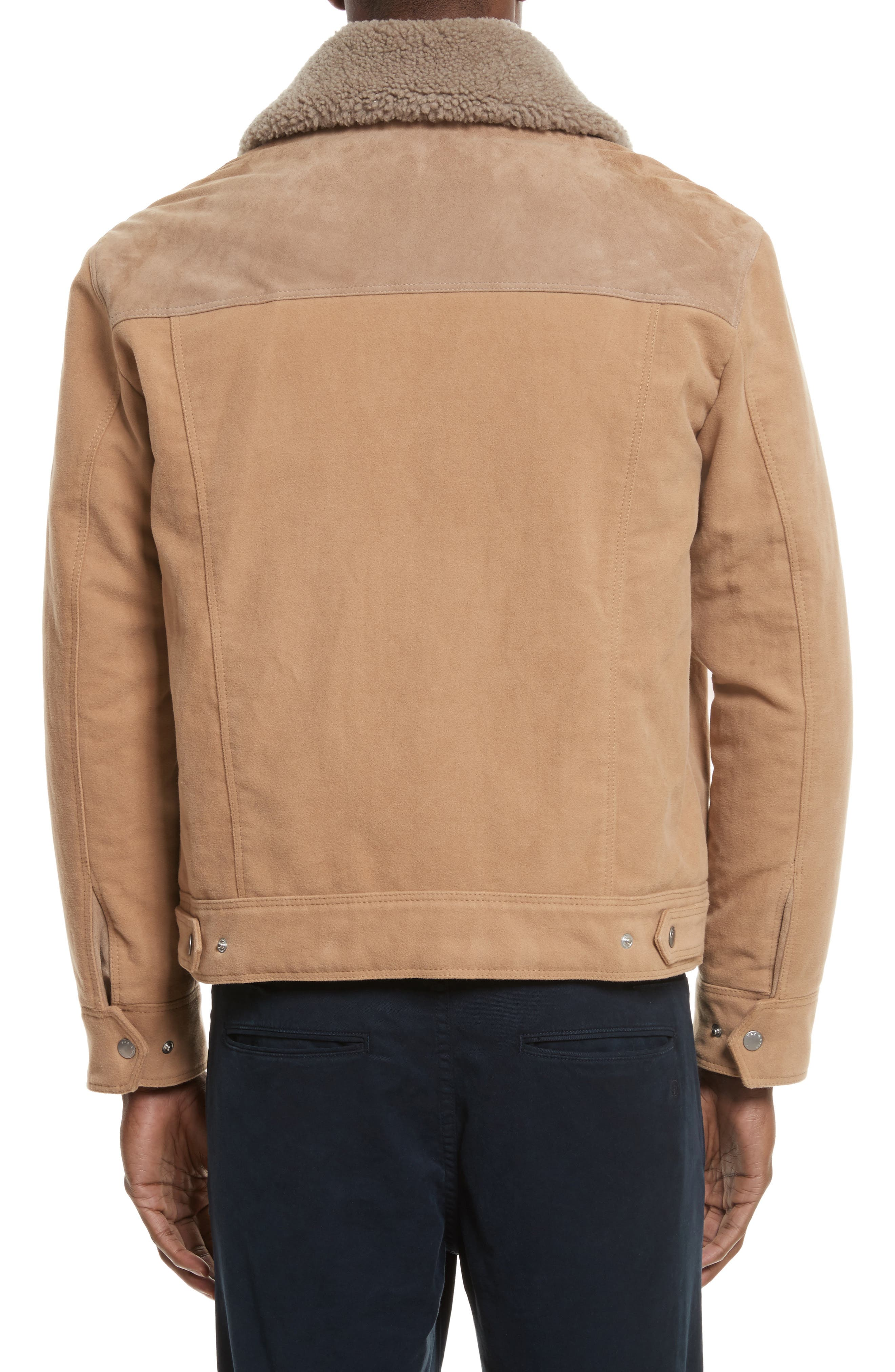 Matthew Work Jacket with Genuine Shearling Collar,                             Alternate thumbnail 2, color,                             Camel