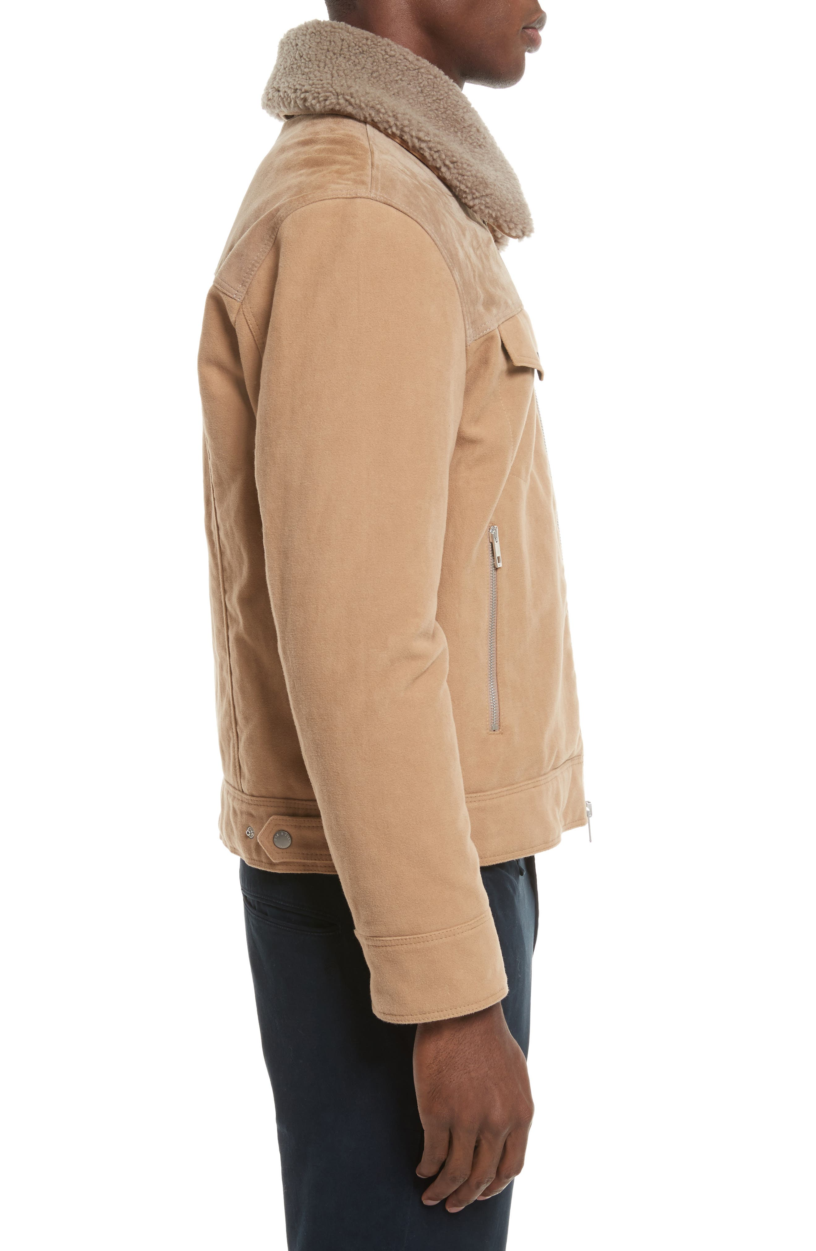 Matthew Work Jacket with Genuine Shearling Collar,                             Alternate thumbnail 3, color,                             Camel