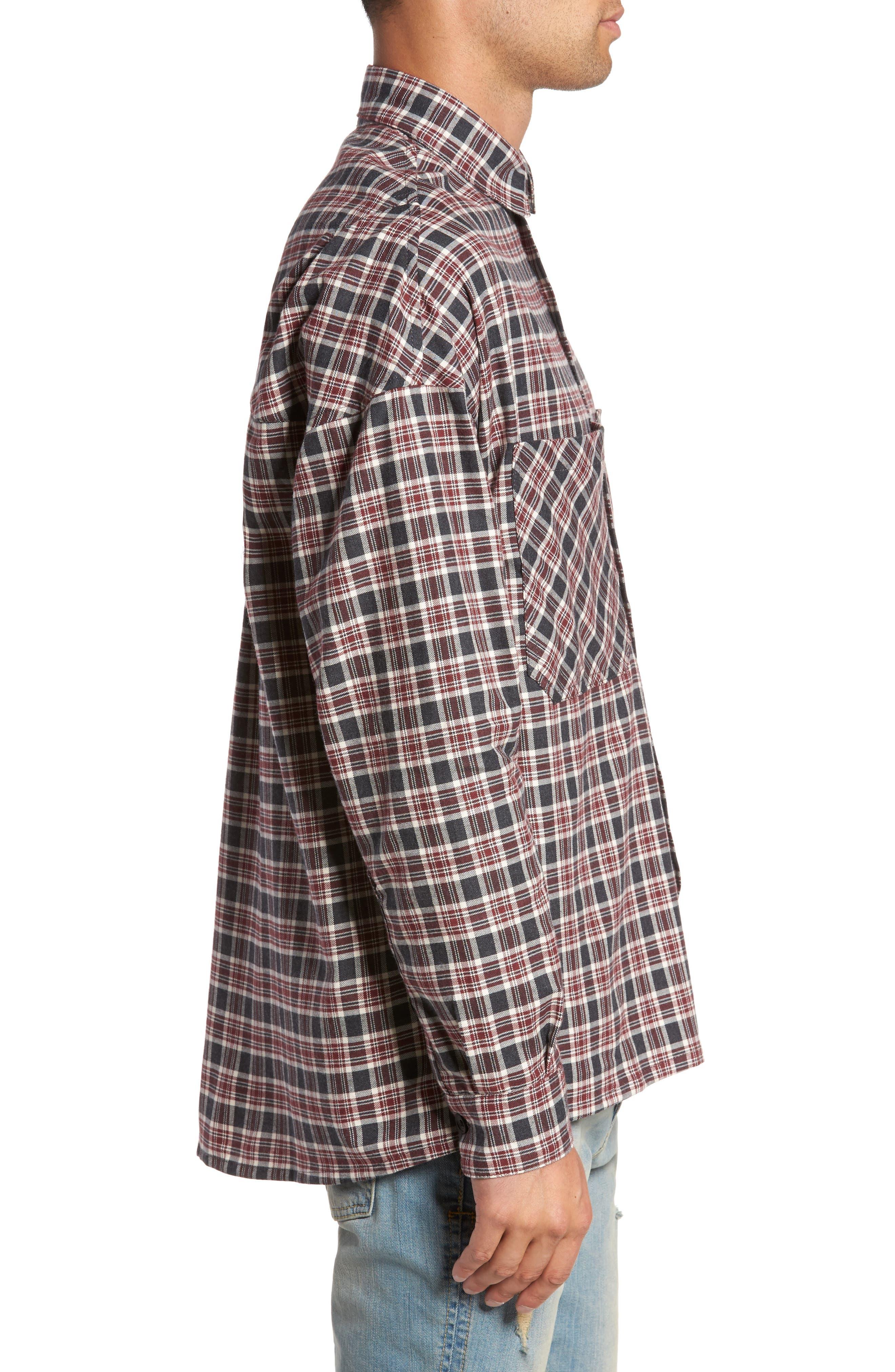 Standard Fit Plaid Sport Shirt,                             Alternate thumbnail 3, color,                             Huckleberry