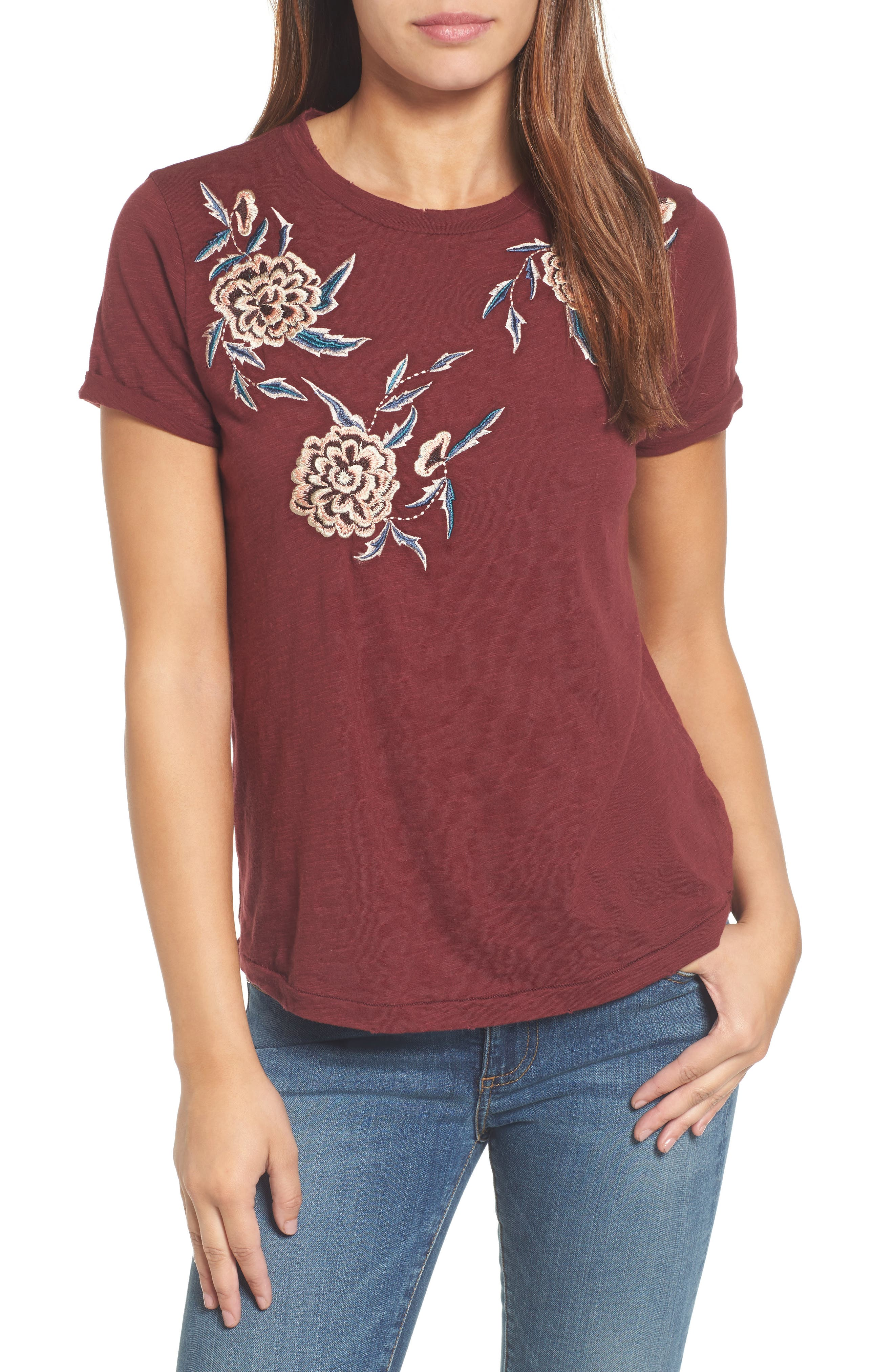 Floral Embroidered Tee,                         Main,                         color, Tawny Port