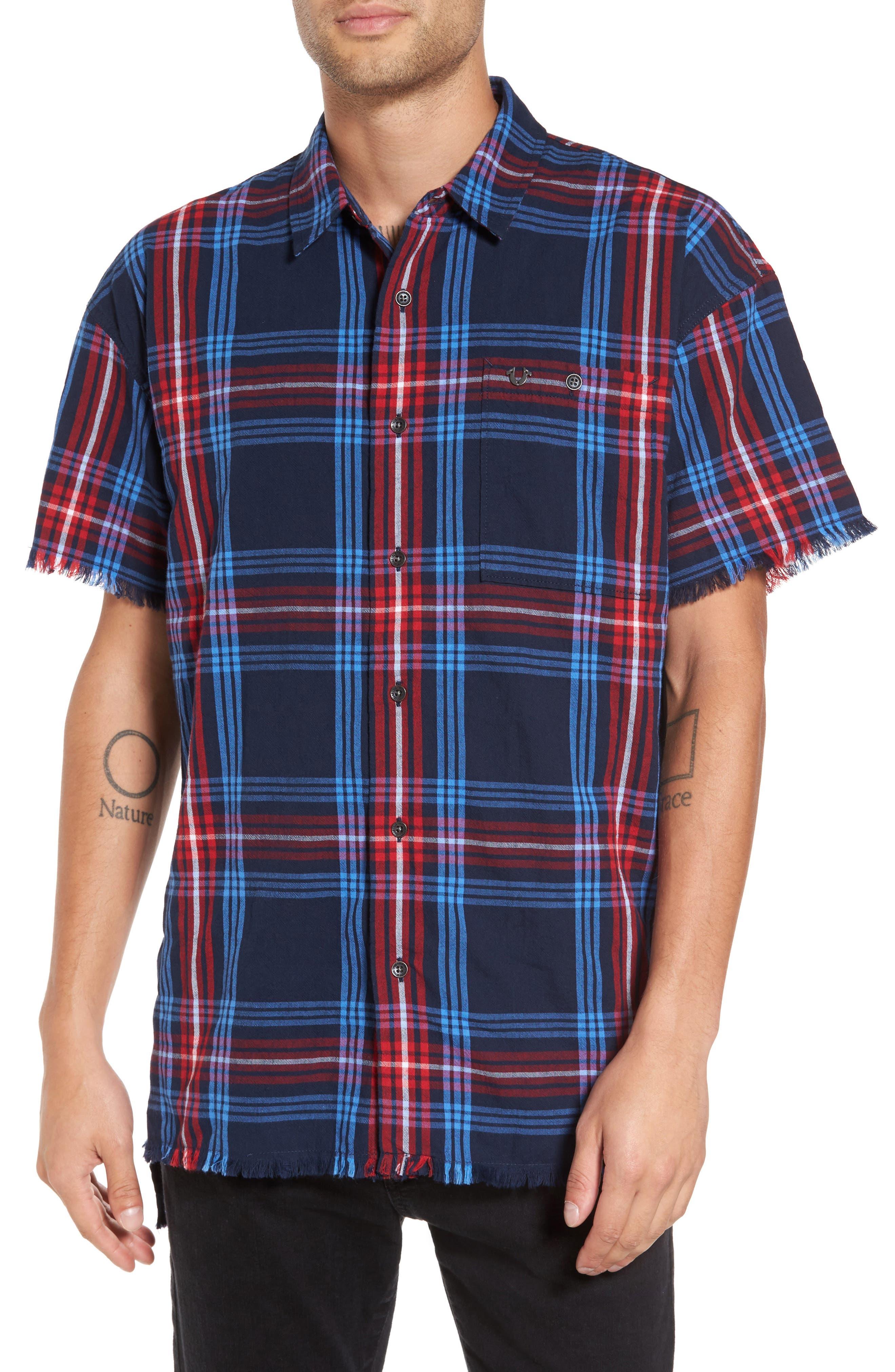 Raw Edge Plaid Woven Shirt,                         Main,                         color, Dark Blue Plaid