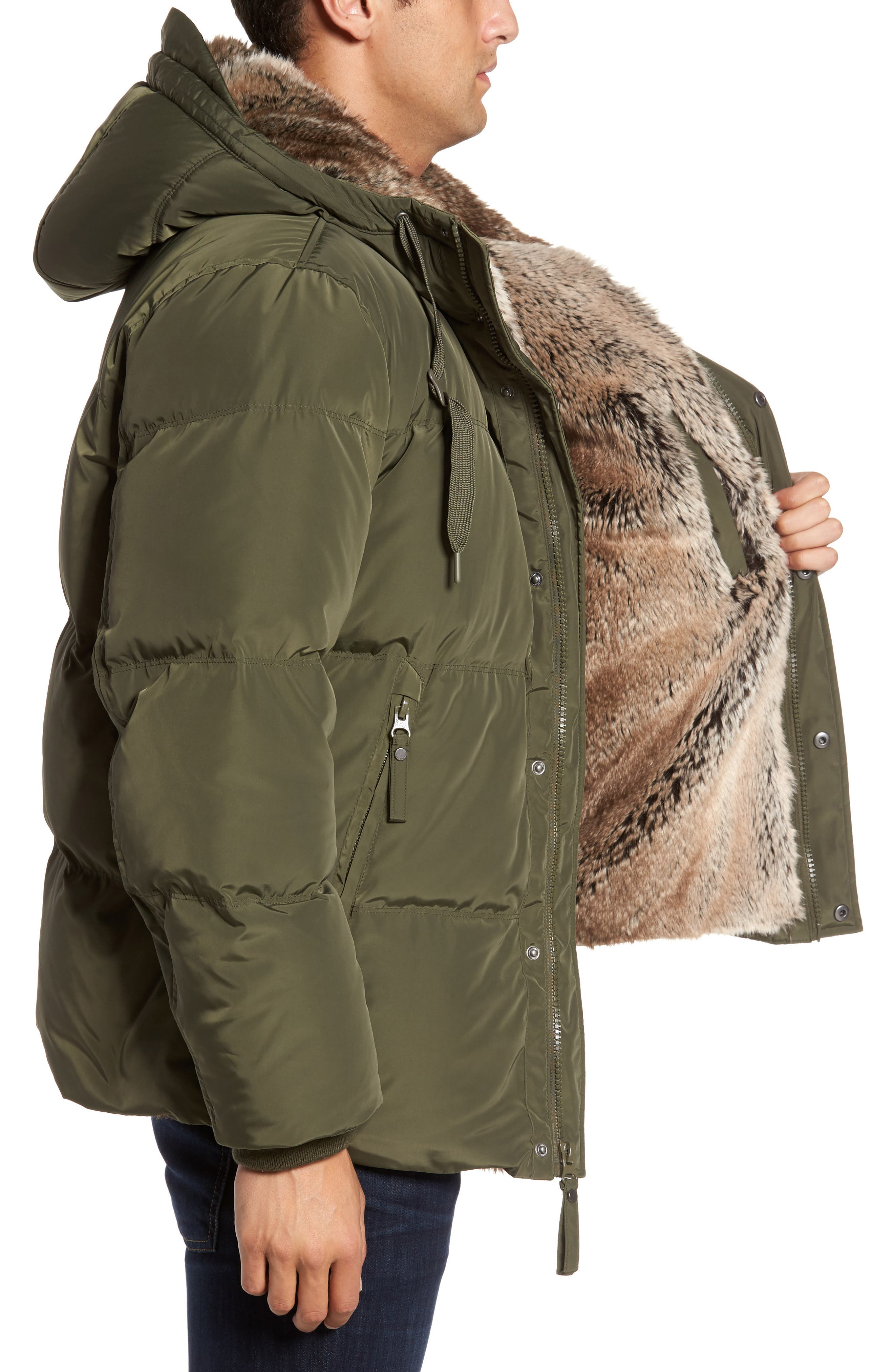 Athlone Faux Fur Down Jacket,                             Alternate thumbnail 3, color,                             Moss