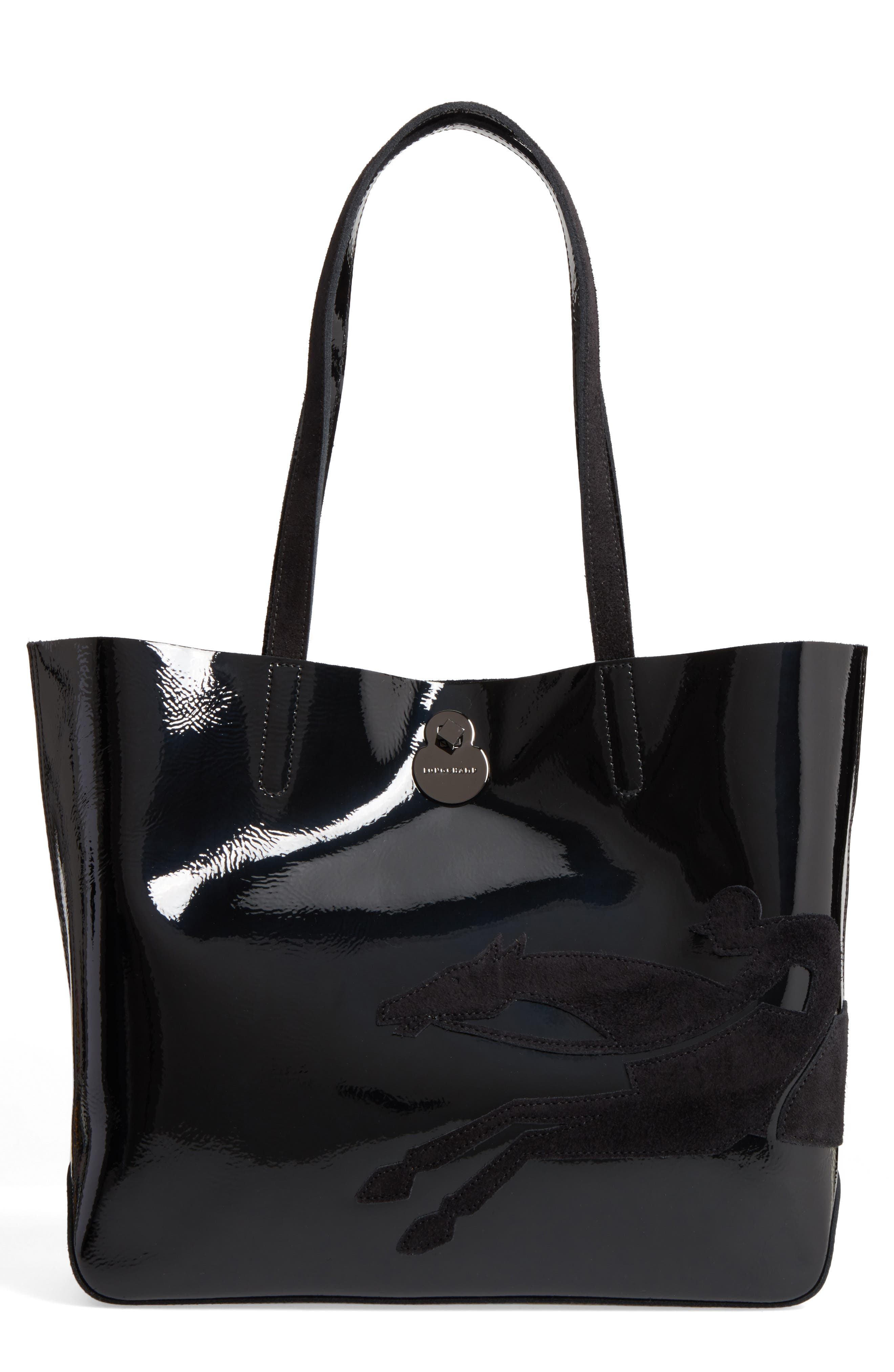 Shop-It Leather Tote,                             Main thumbnail 1, color,                             Black