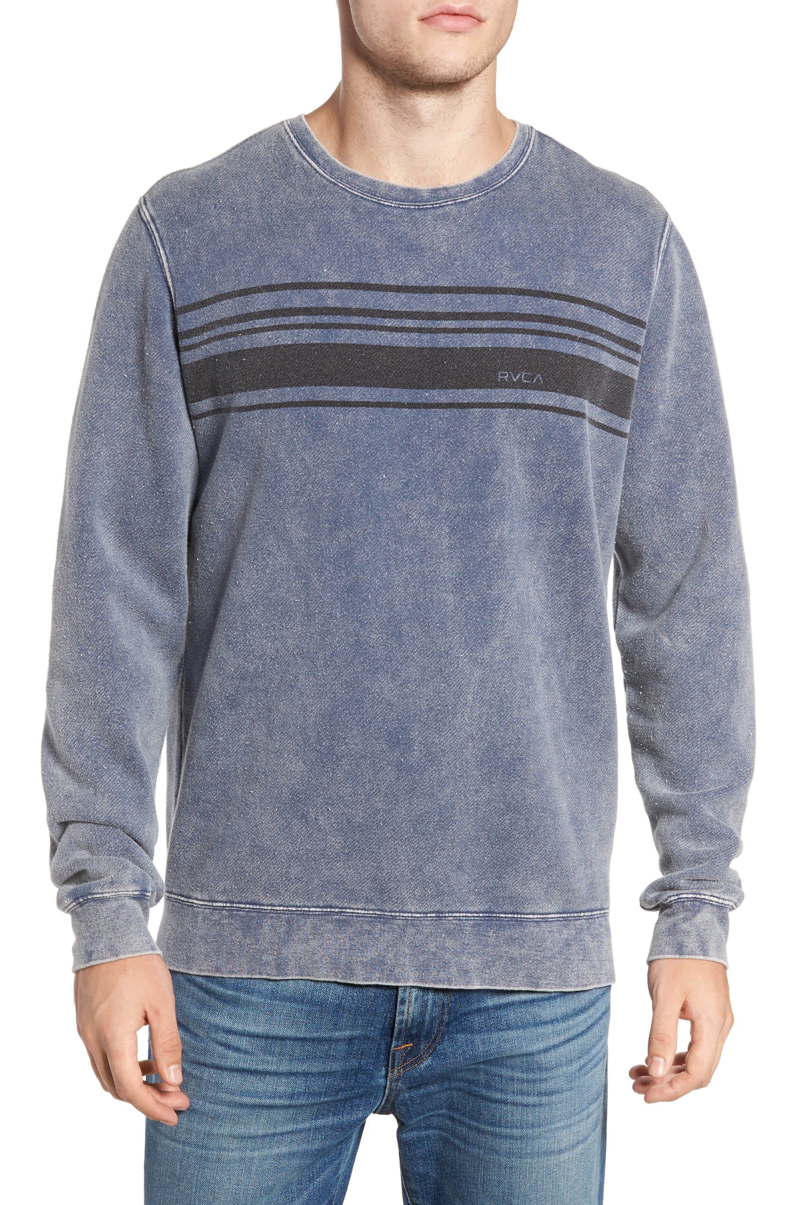 Alternate Image 1 Selected - RVCA Stripe Crewneck Sweatshirt