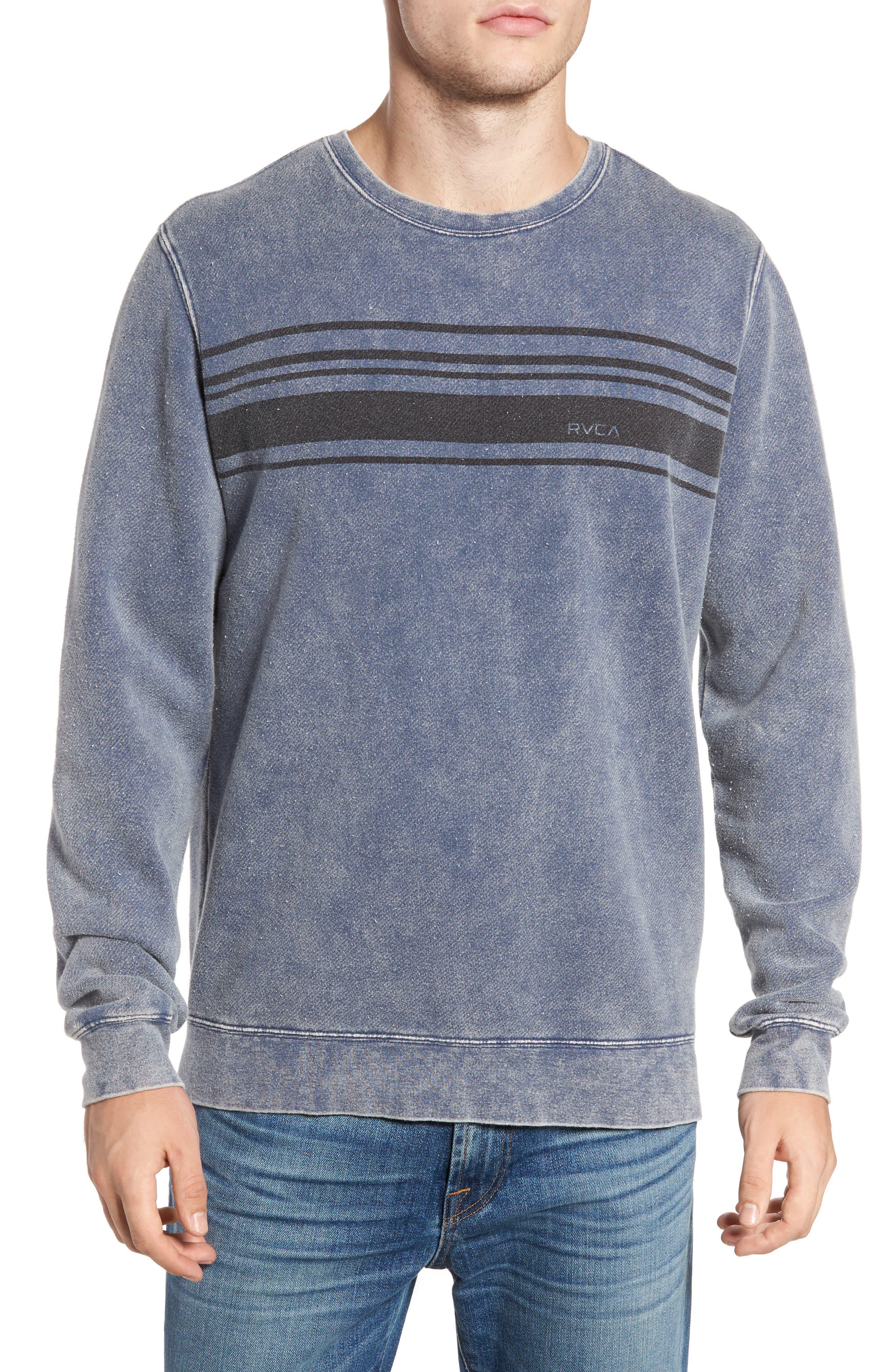 Stripe Crewneck Sweatshirt,                         Main,                         color, Dark Denim