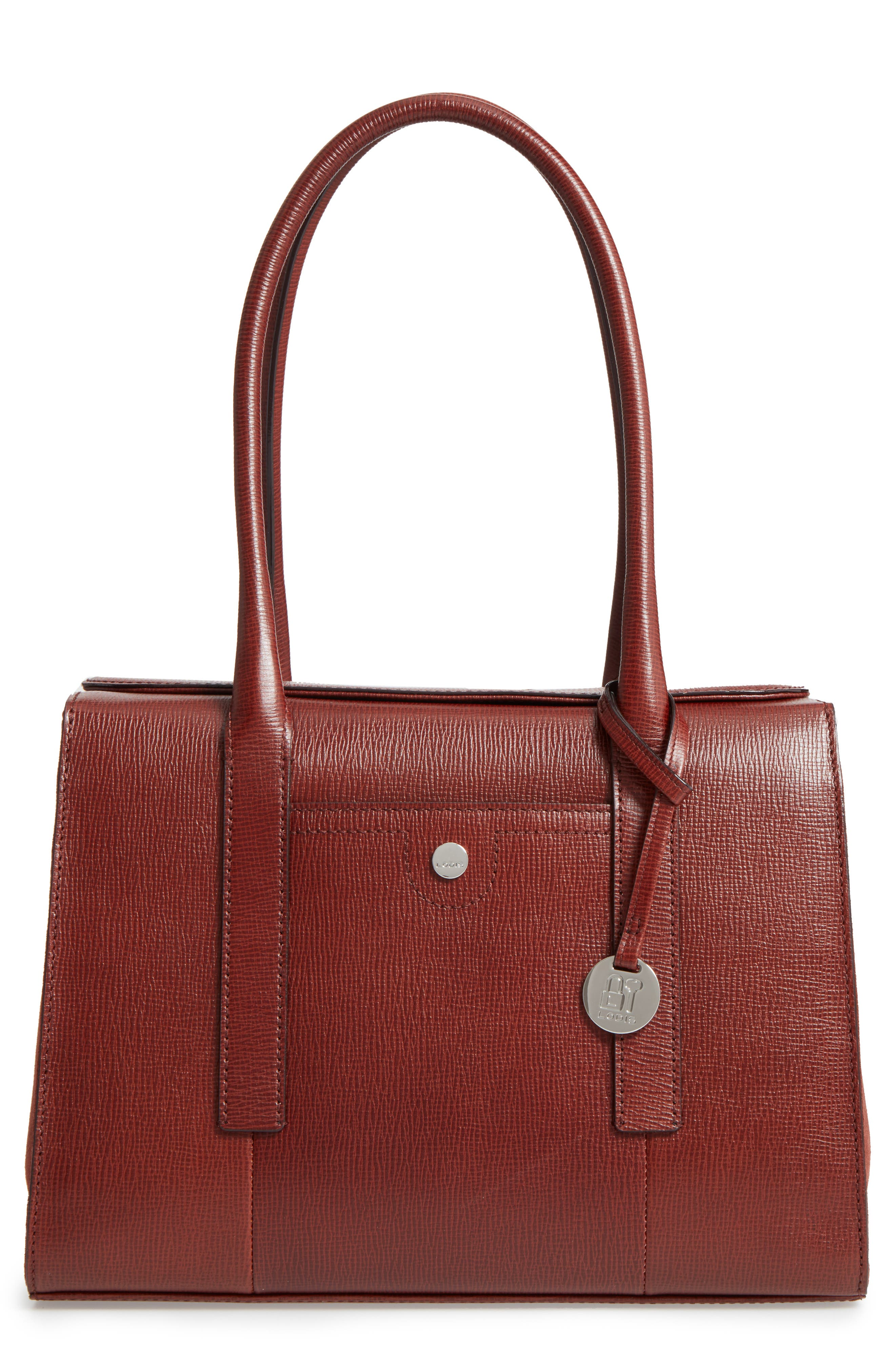Alternate Image 1 Selected - LODIS Los Angeles Business Chic Paula RFID-Protected Coated Leather & Suede Brief Shoulder Bag