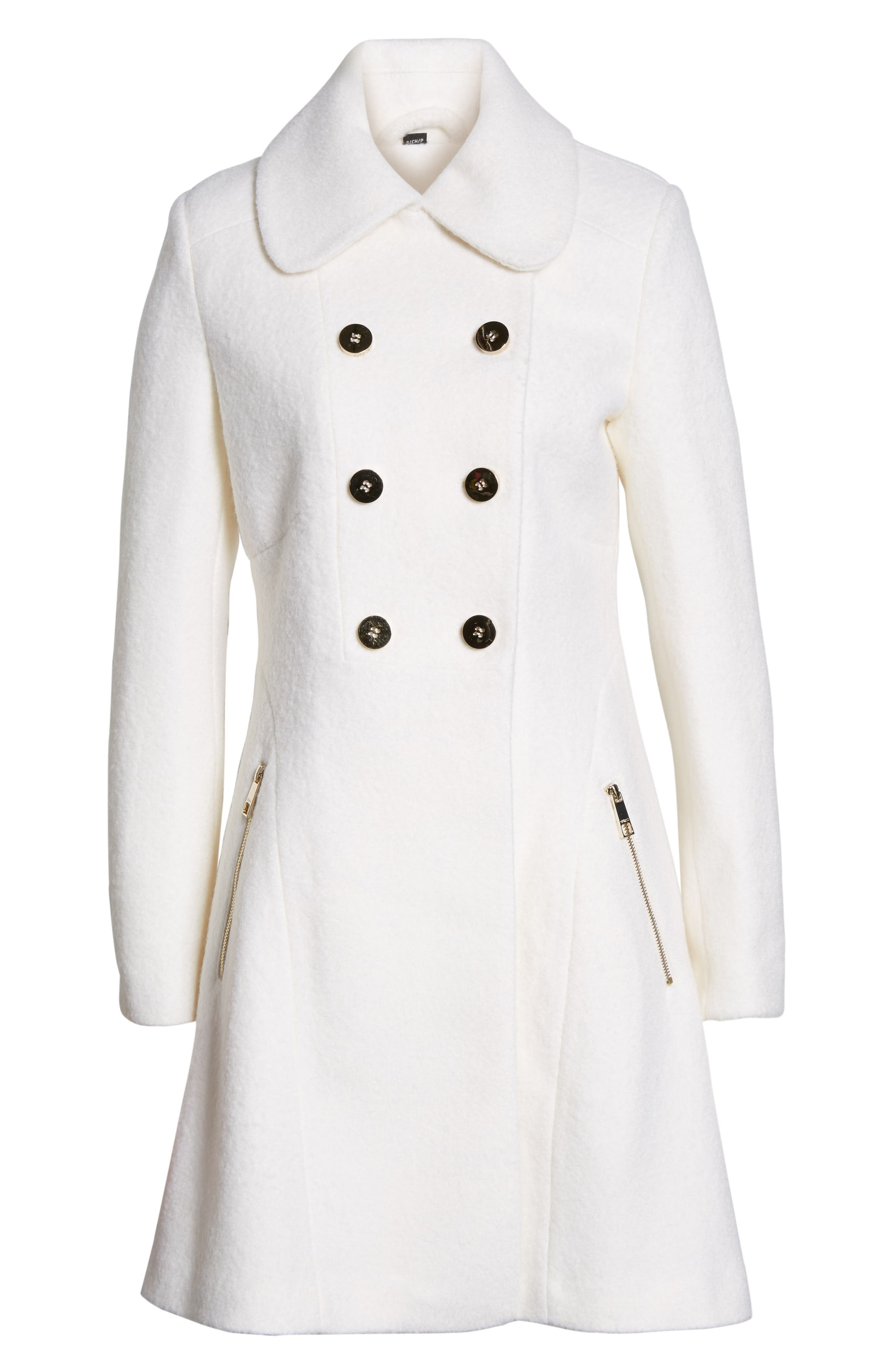 GUESS Double Breasted Boiled Wool Peacoat (Regular & Petite)