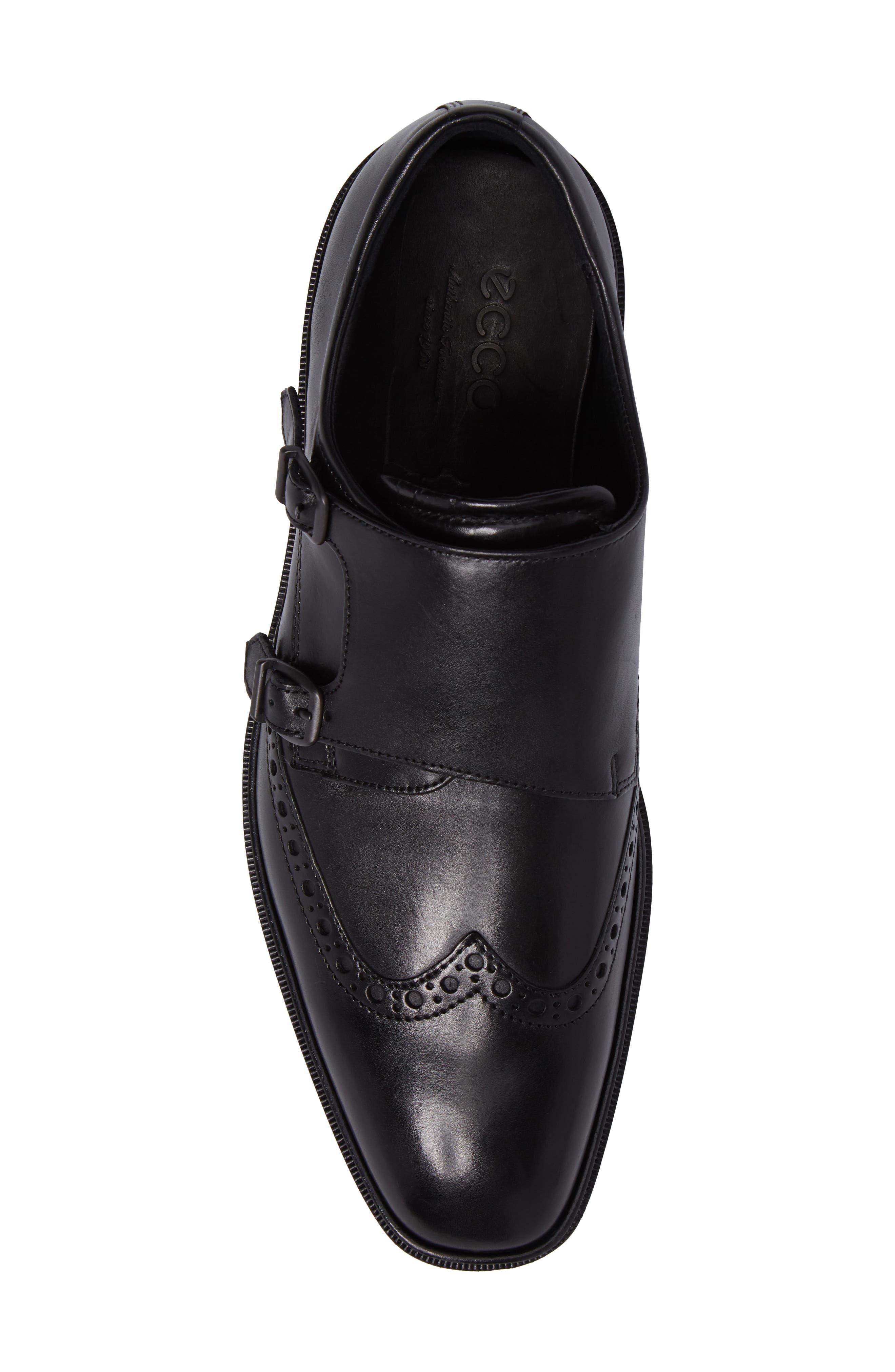 Illinois Double Monk Strap Shoe,                             Alternate thumbnail 5, color,                             Black Leather
