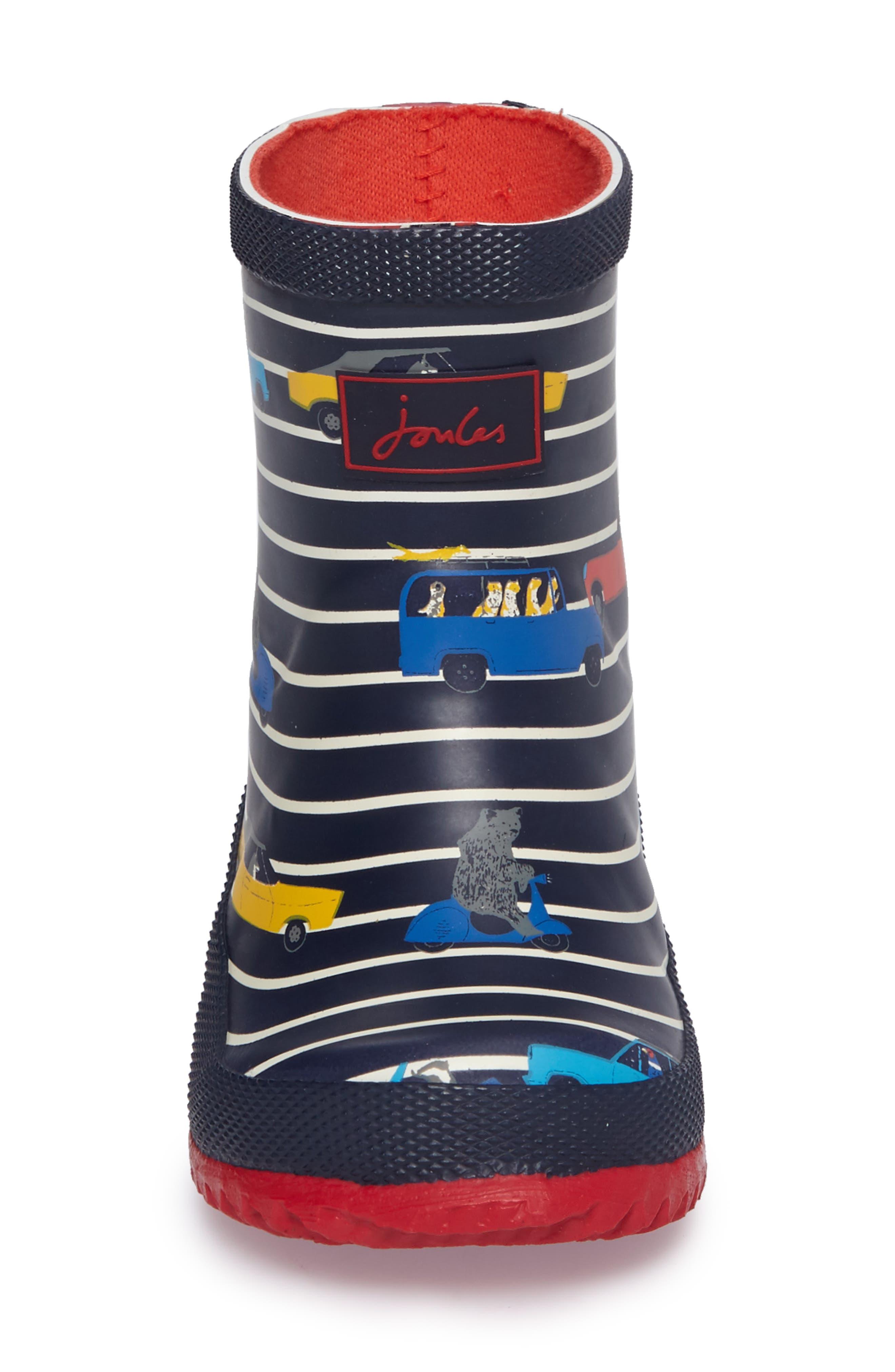 Printed Waterproof Rain Boot,                             Alternate thumbnail 4, color,                             Navy Car