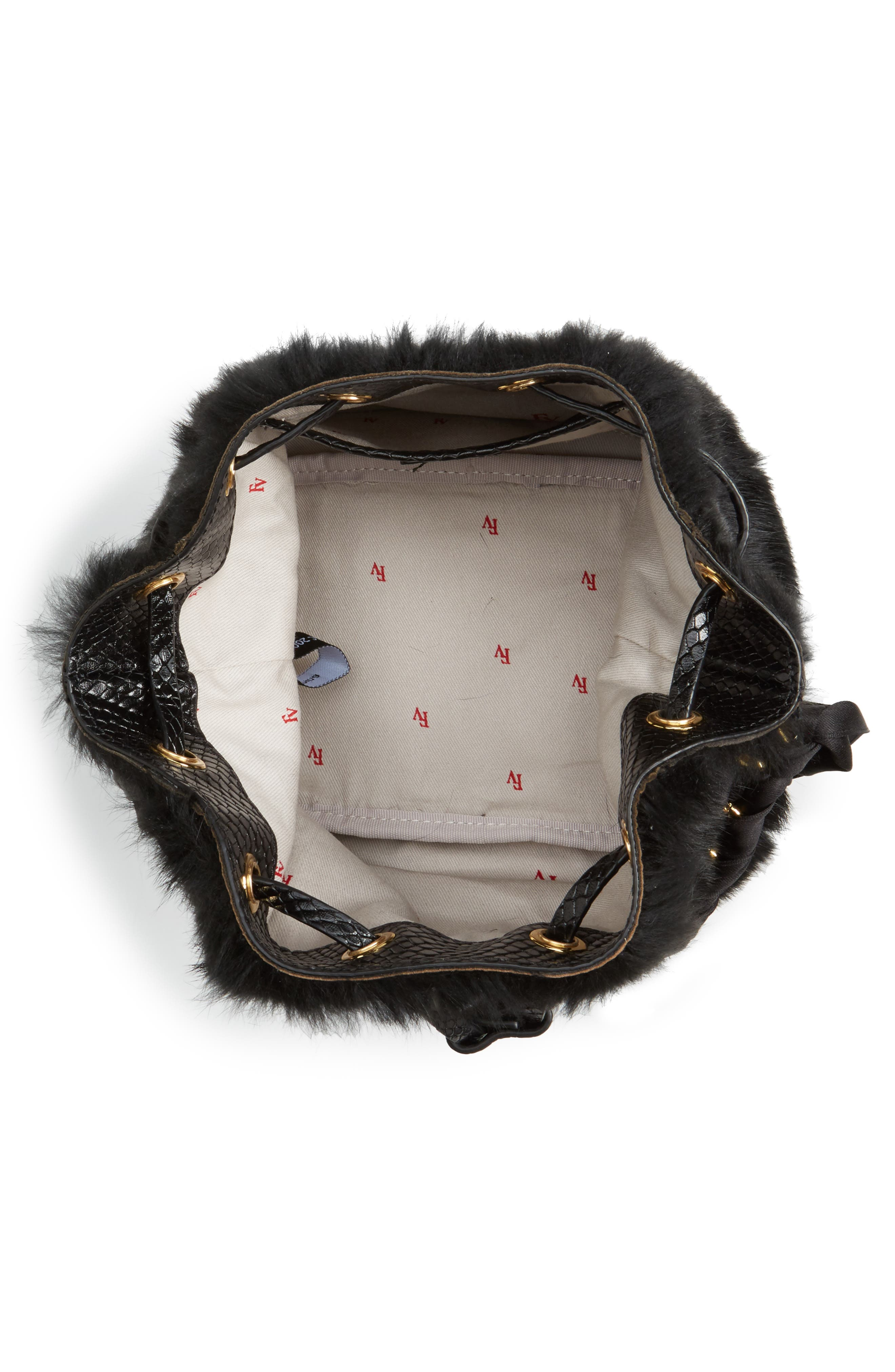Alternate Image 4  - Frances Valentine Small Genuine Rabbit Fur & Leather Bucket Bag