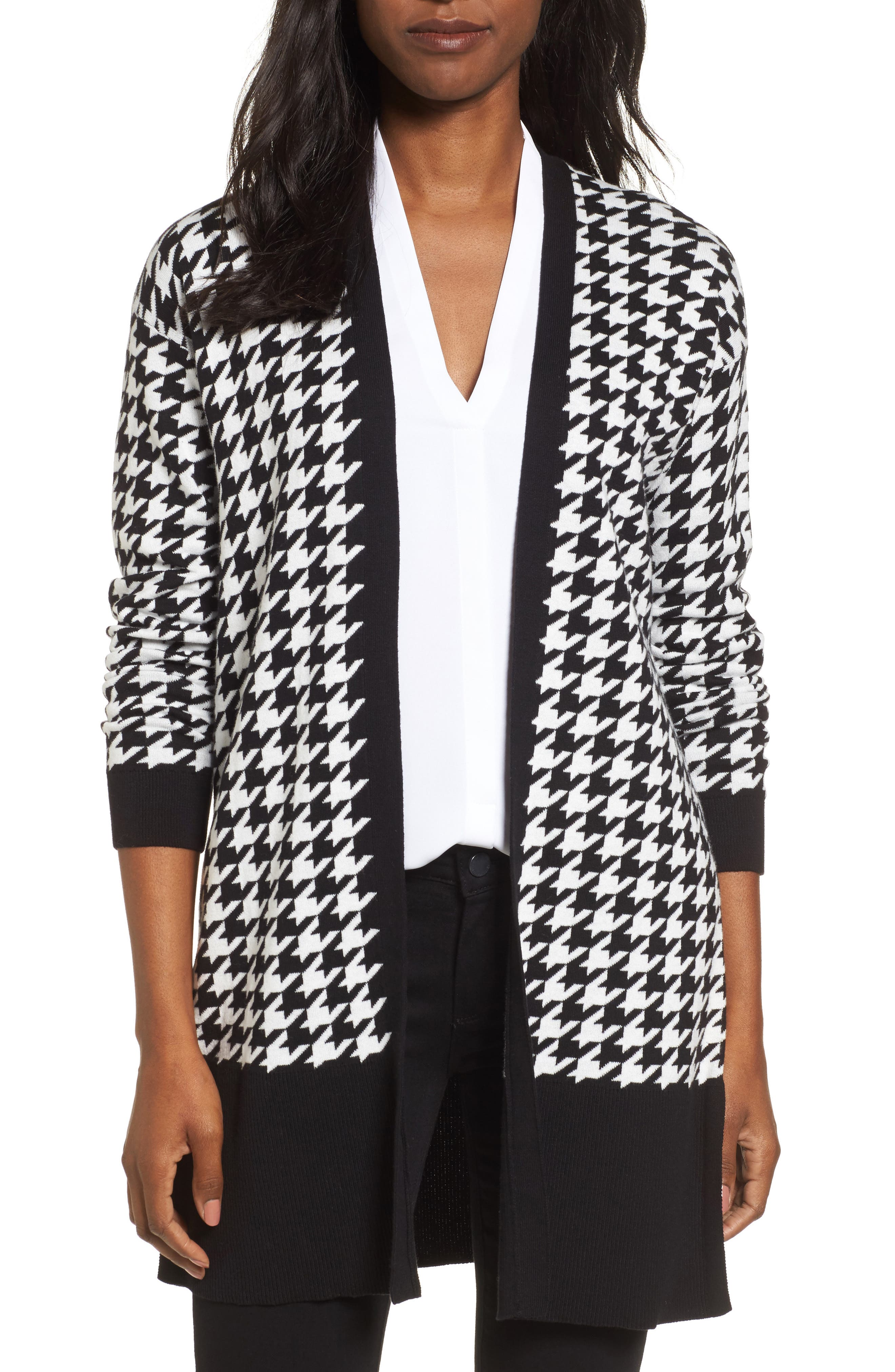 Houndstooth Cardigan,                             Main thumbnail 1, color,                             Rich Black