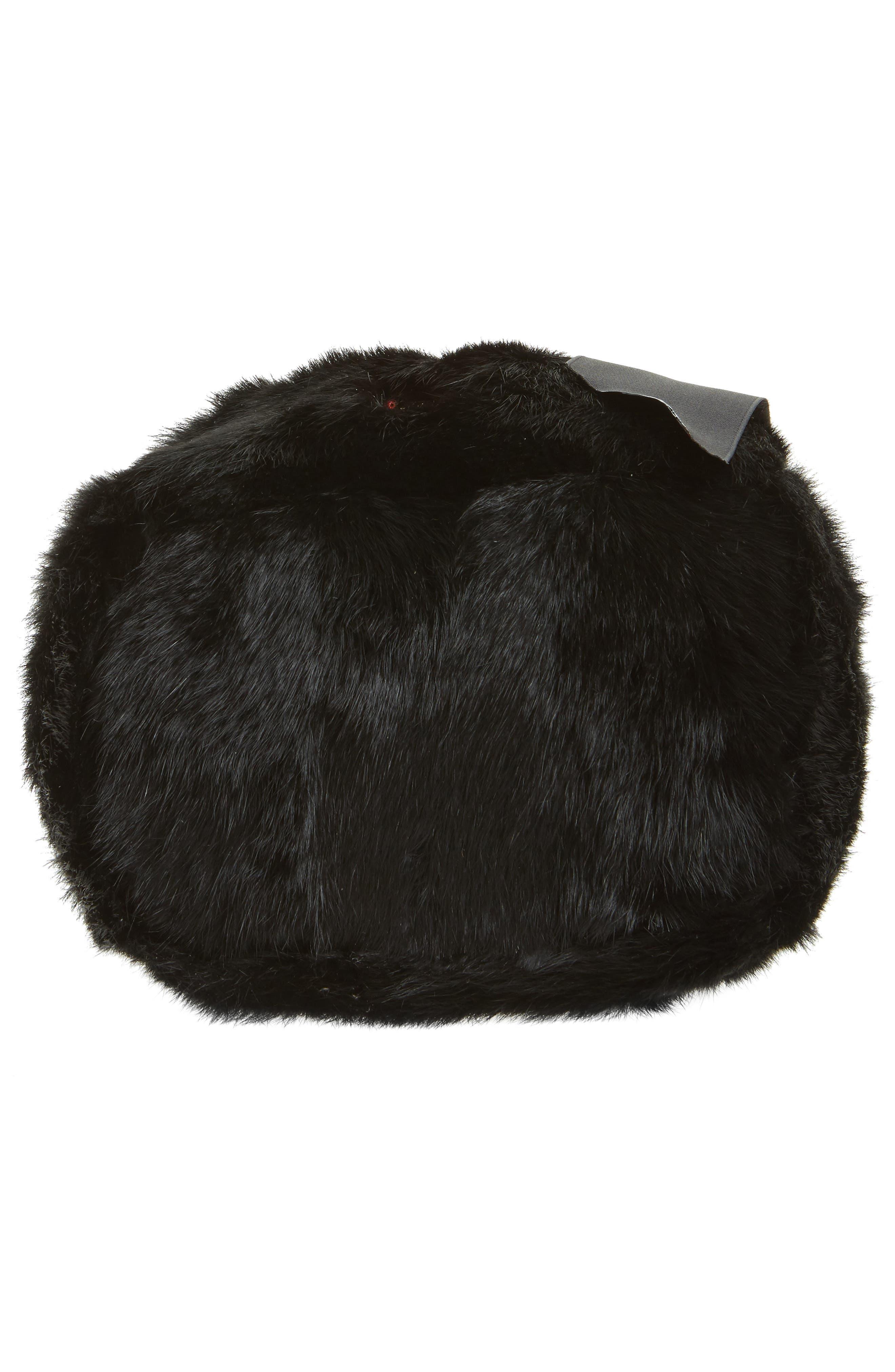 Small Genuine Rabbit Fur & Leather Bucket Bag,                             Alternate thumbnail 6, color,                             Black