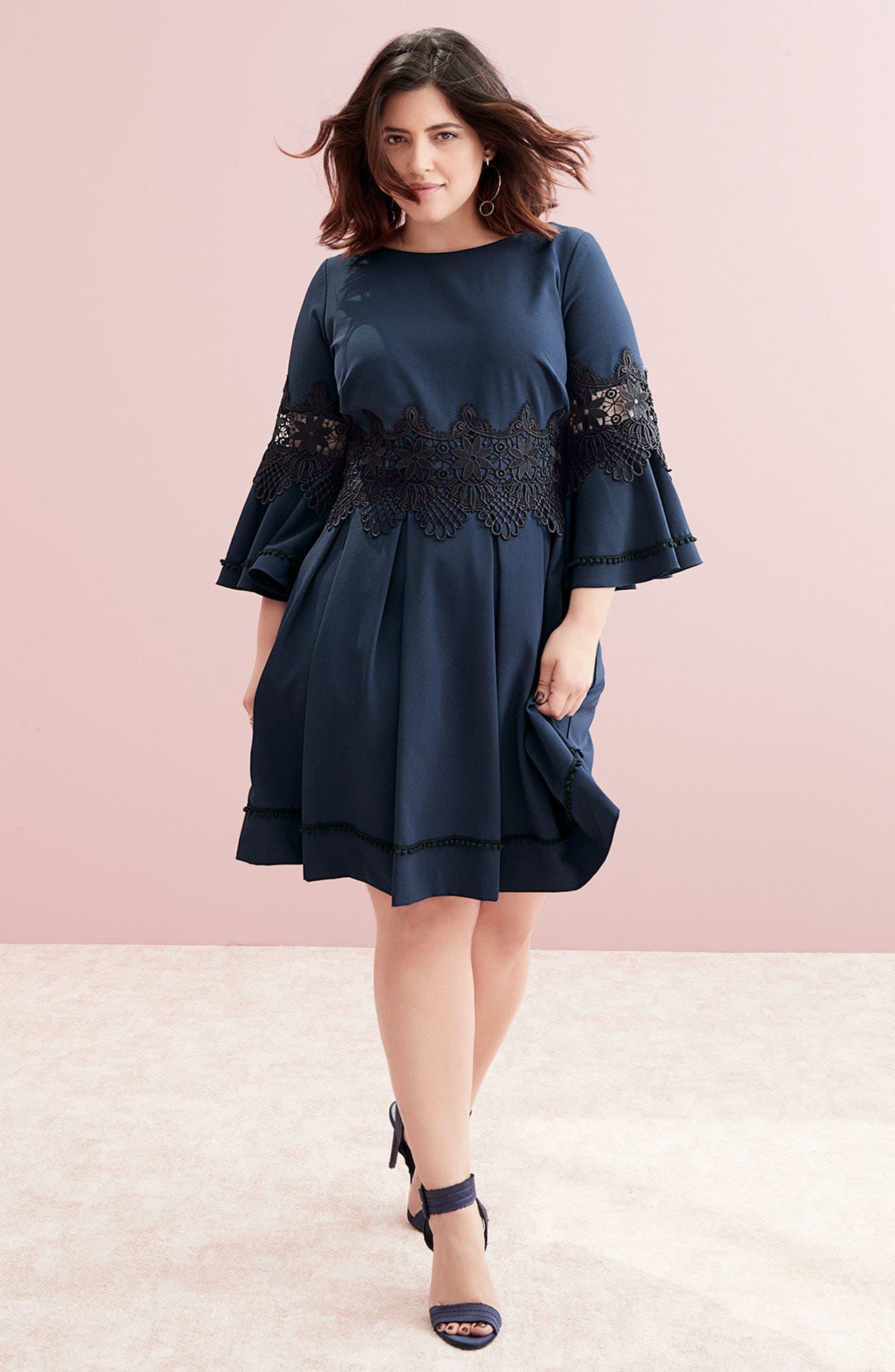 Alternate Image 7  - Eliza J Lace Appliqué A-Line Dress (Plus Size)