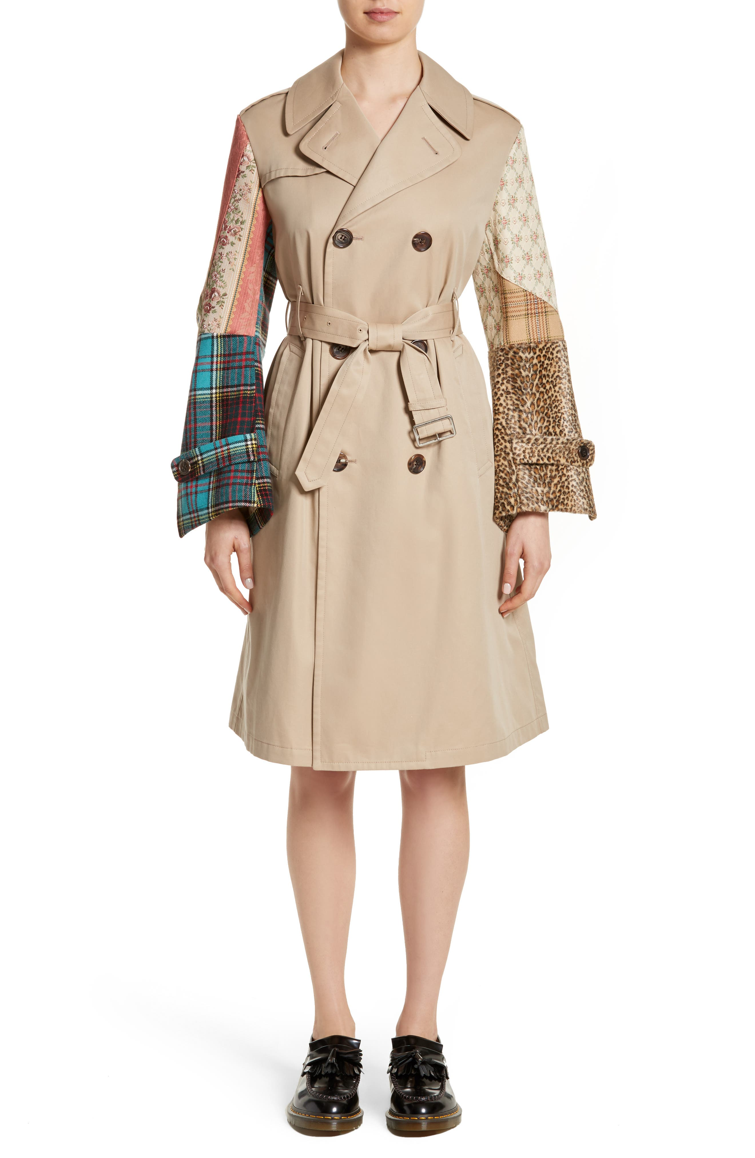 Patterned Sleeve Trench Coat,                             Main thumbnail 1, color,                             Beige X Mix