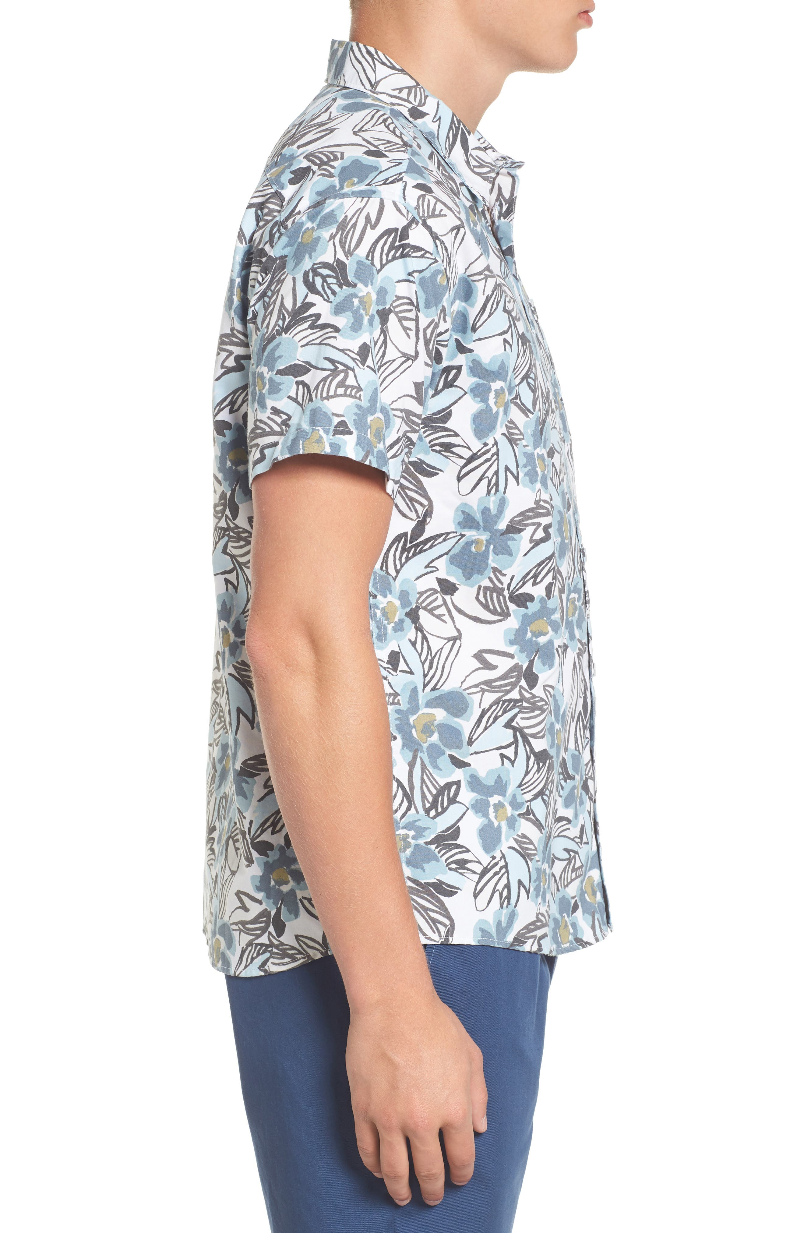 Paradise Valley Floral Woven Shirt,                             Alternate thumbnail 3, color,                             Cosmos