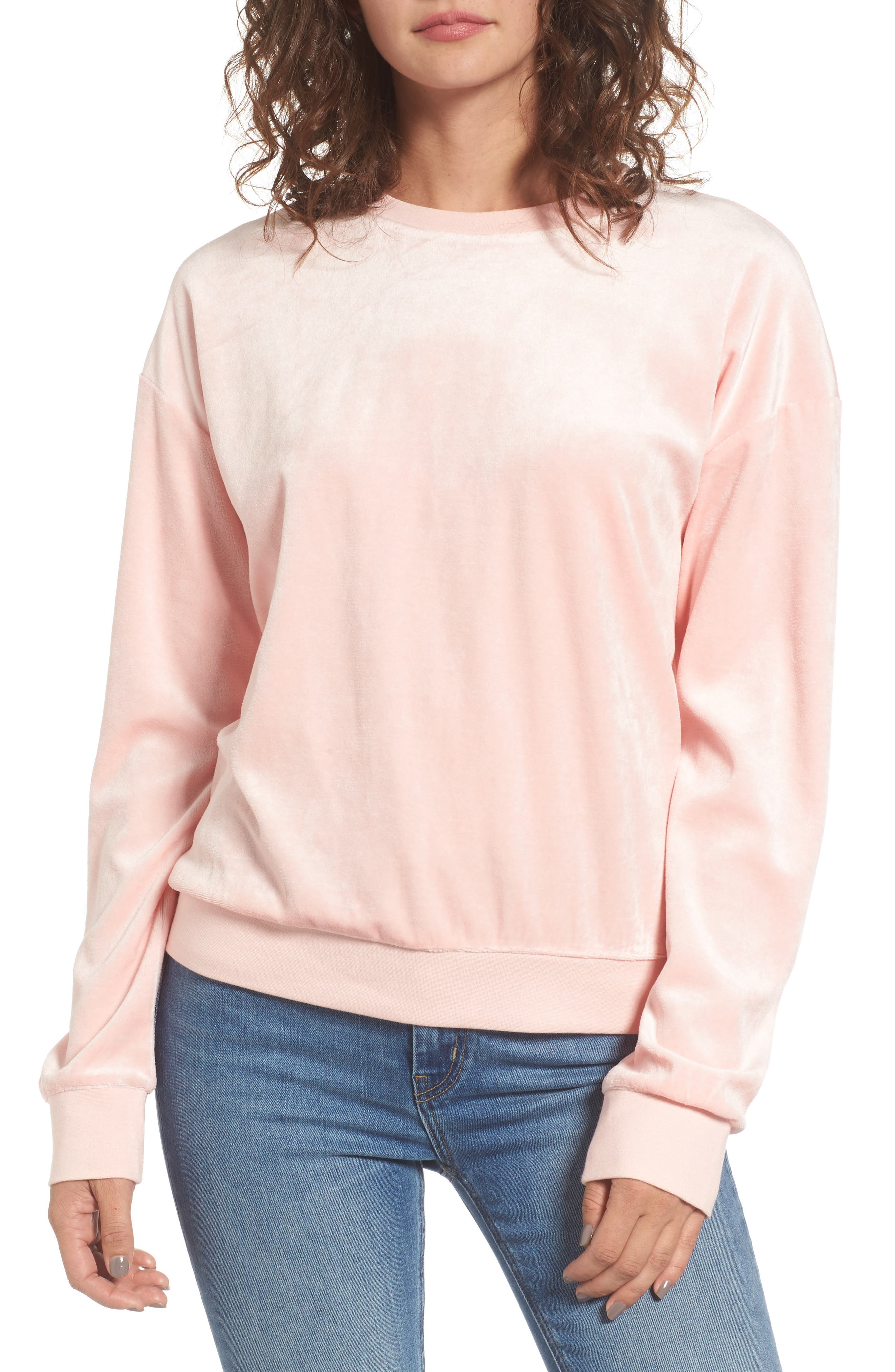 Velour Pullover,                             Main thumbnail 1, color,                             Sugared Icing
