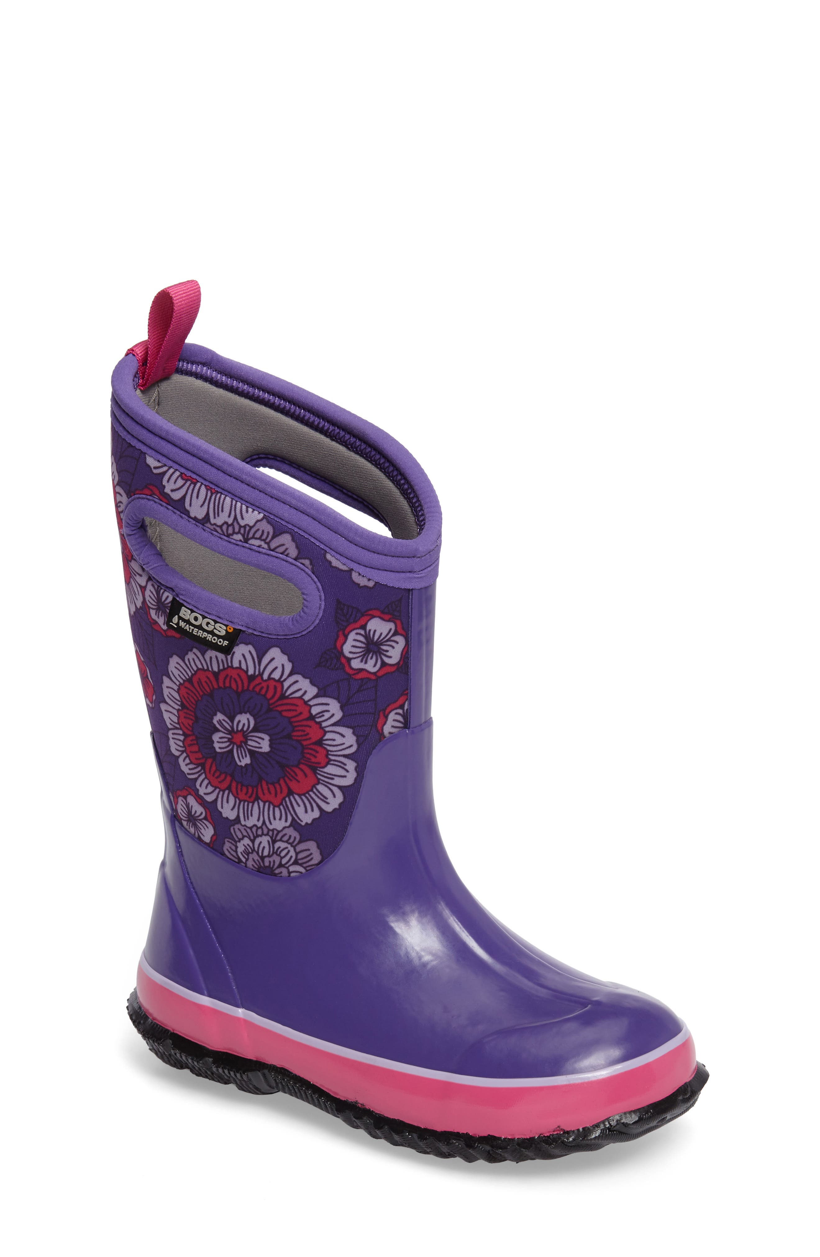 Main Image - Bogs Classic Pansies Insulated Waterproof Rain Boot (Toddler, Little Kid & Big Kid)