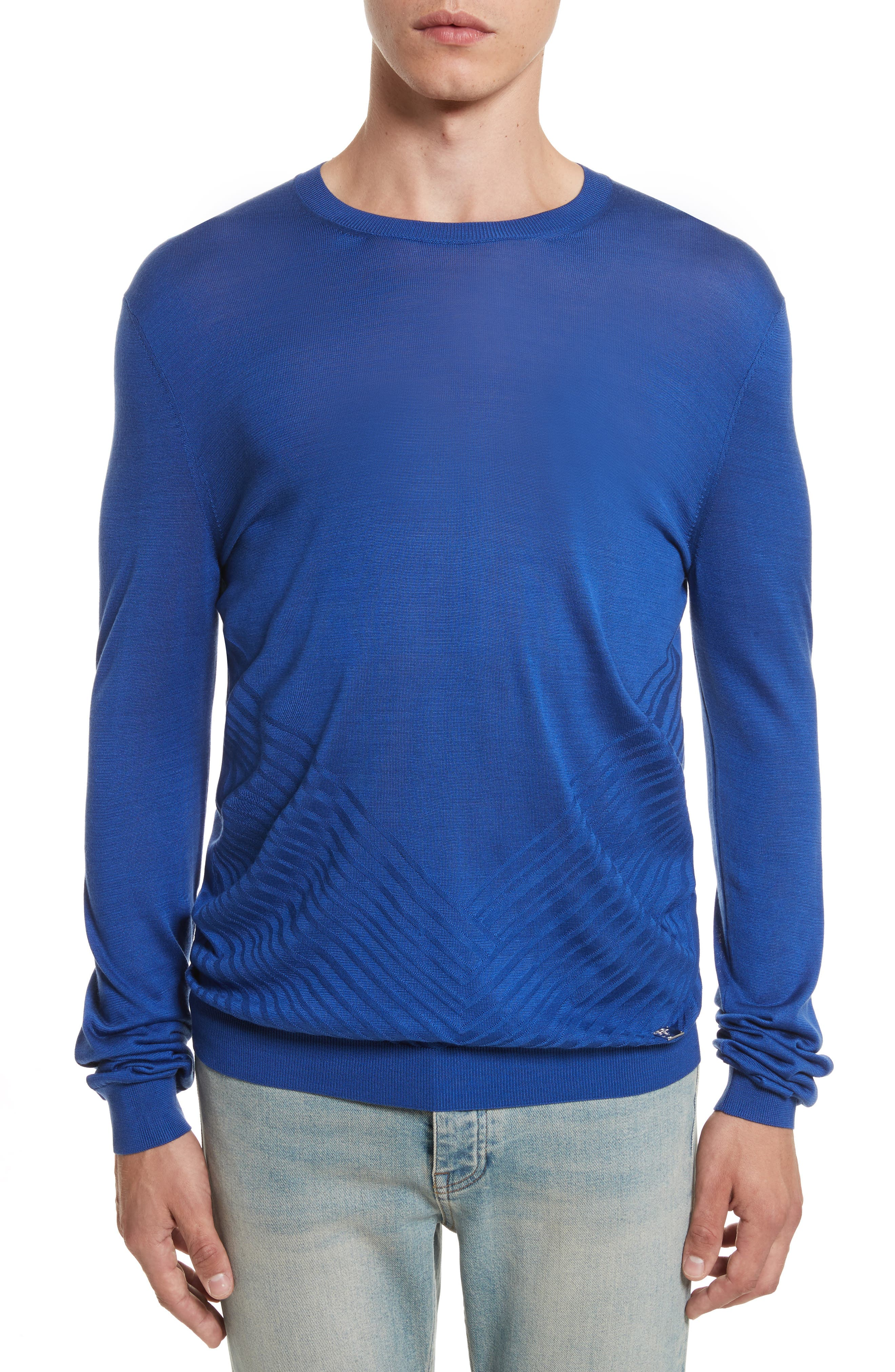 Silk Crewneck Sweater,                             Main thumbnail 1, color,                             Royal Blue