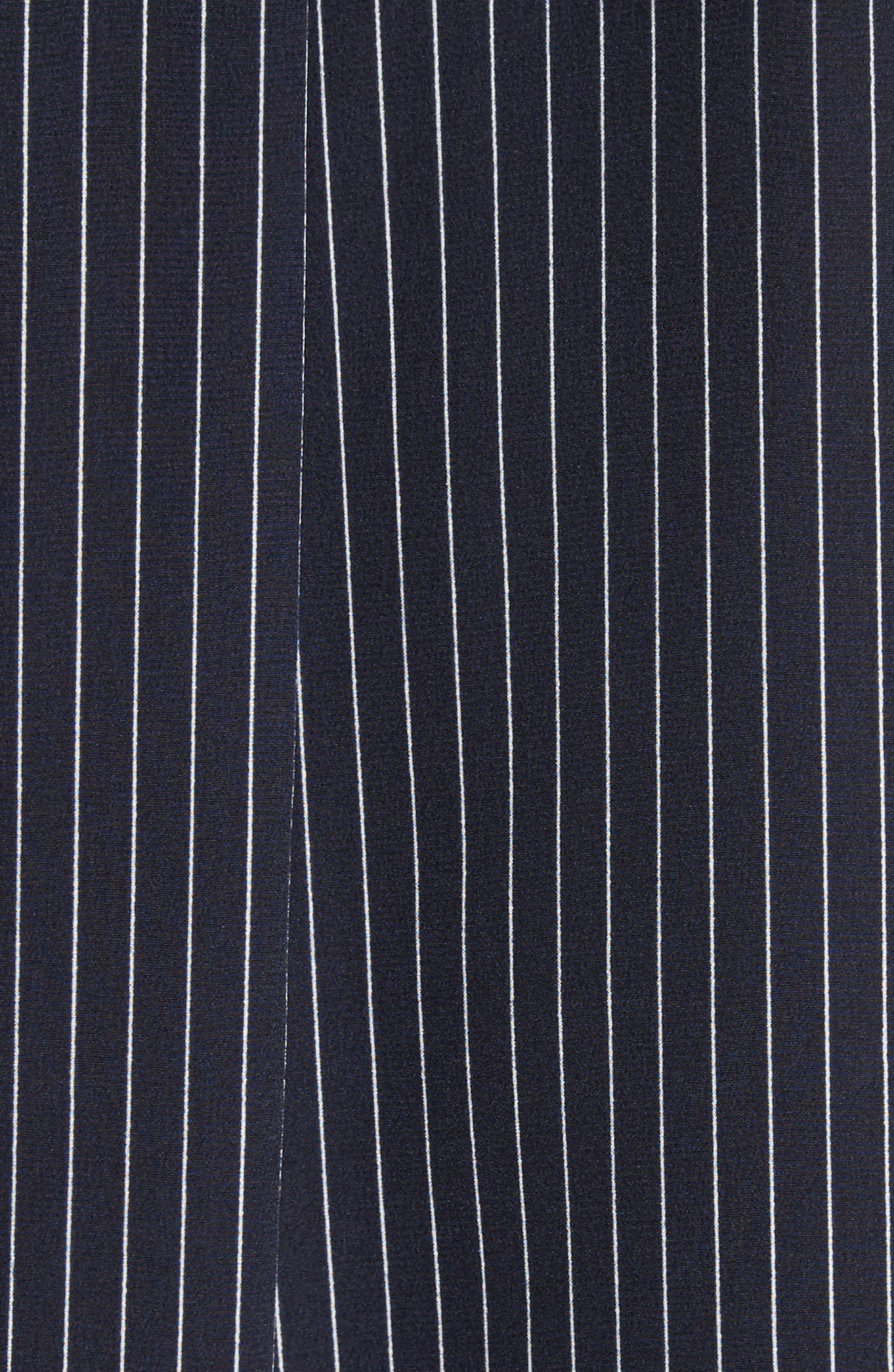 Tie Cuff Pinstripe Silk Blouse,                             Alternate thumbnail 5, color,                             Deep Navy/ Ivory