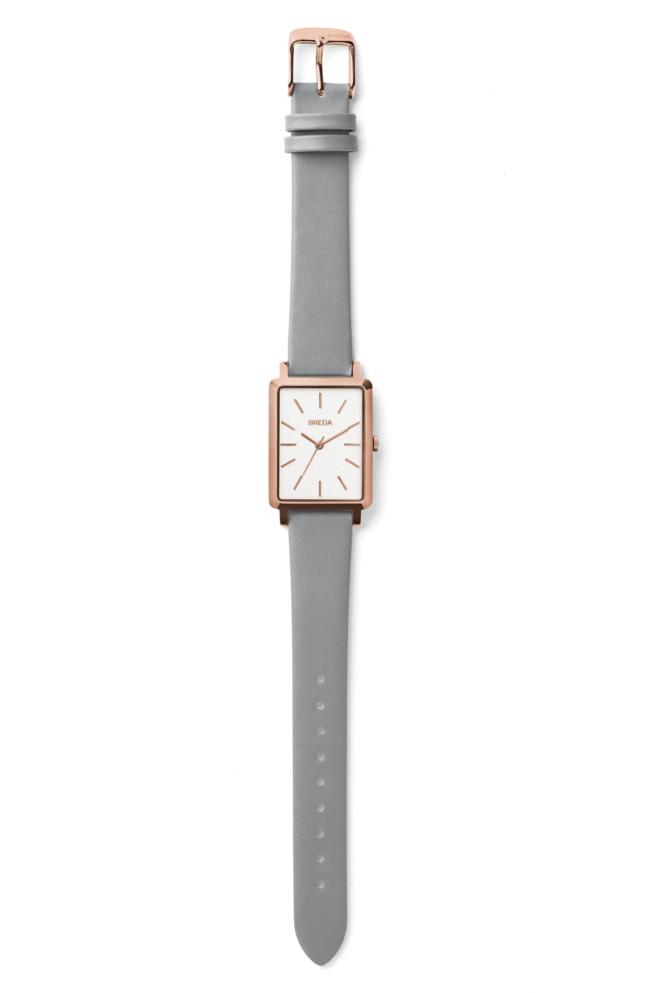 Alternate Image 2  - BREDA Baer Rectangular Leather Strap Watch, 26mm
