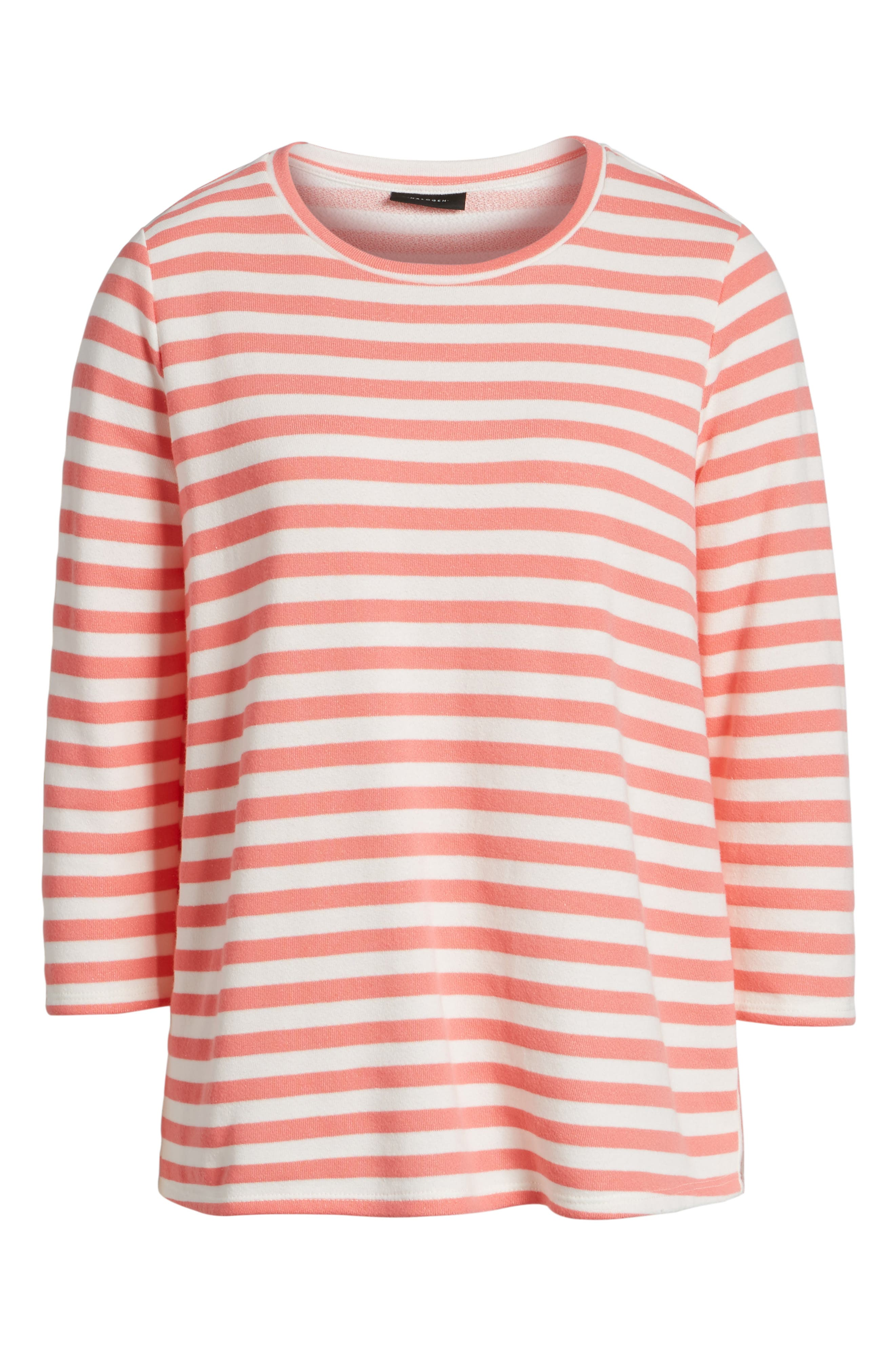 Halogen High/Low Cross Back Sweatshirt,                             Alternate thumbnail 6, color,                             Coral Sugar- White Stripe