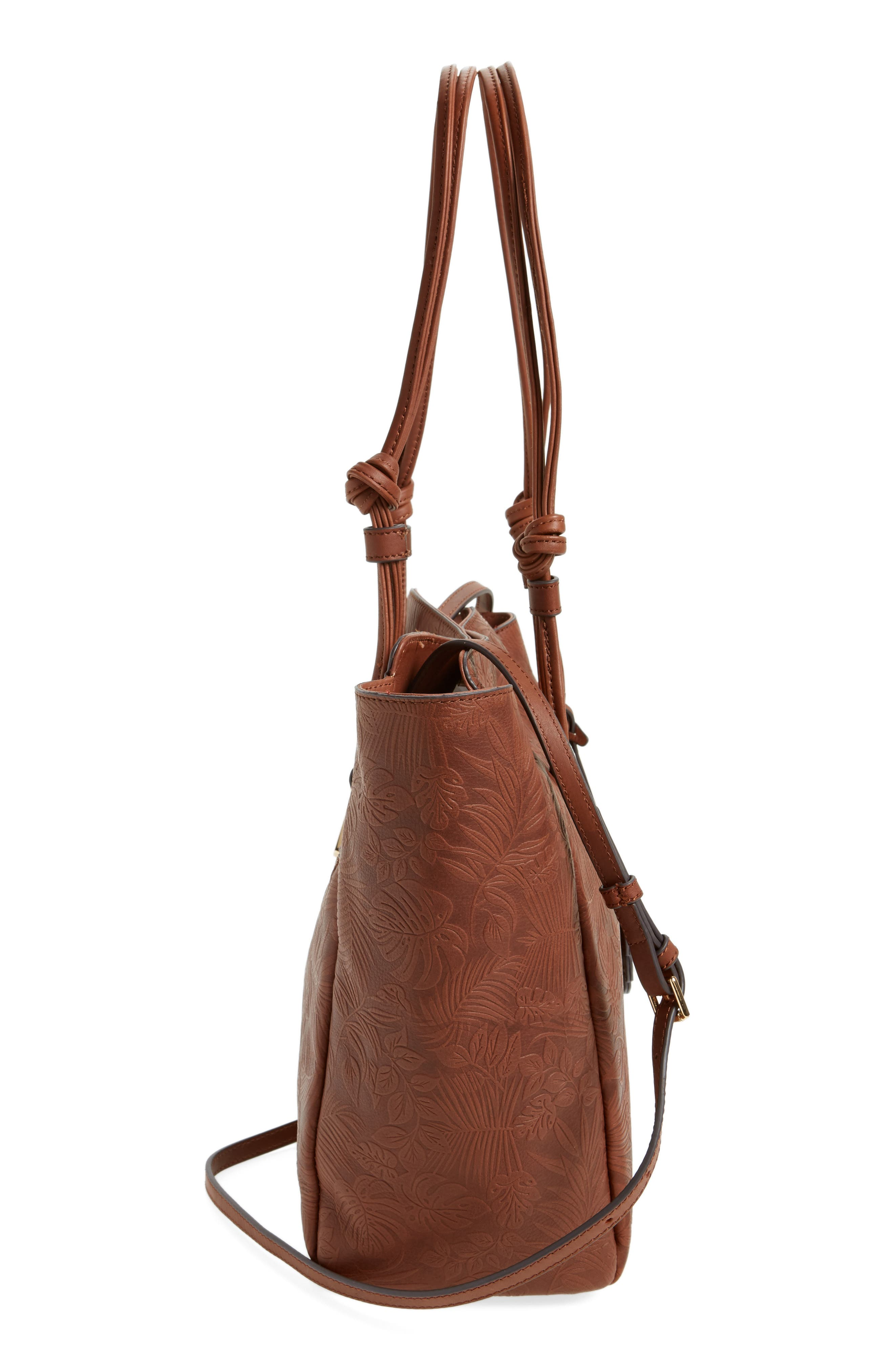 Embossed Leather Tote,                             Alternate thumbnail 4, color,                             Chestnut