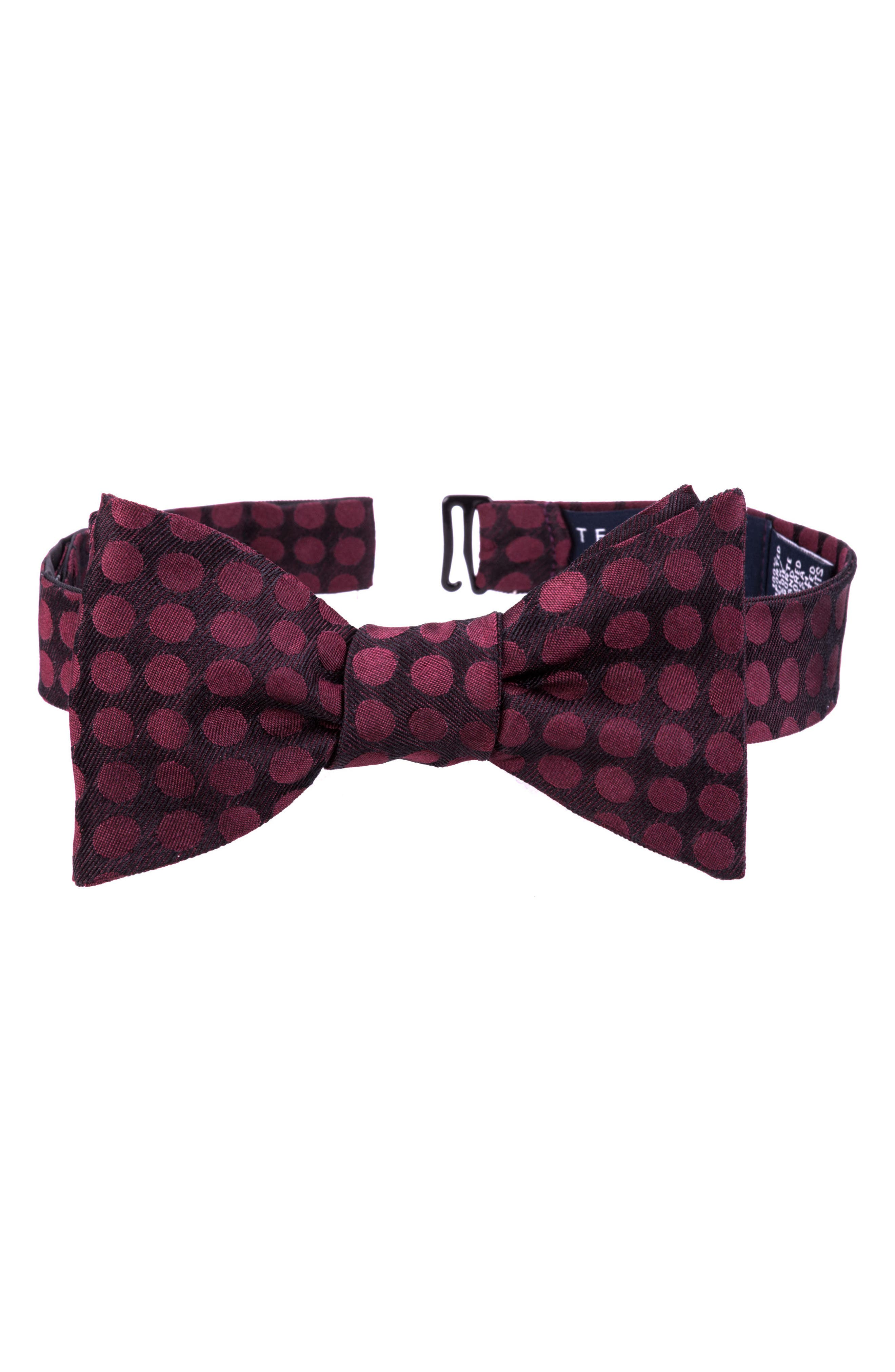 Double Dots Silk Bow Tie,                             Main thumbnail 1, color,                             Wine
