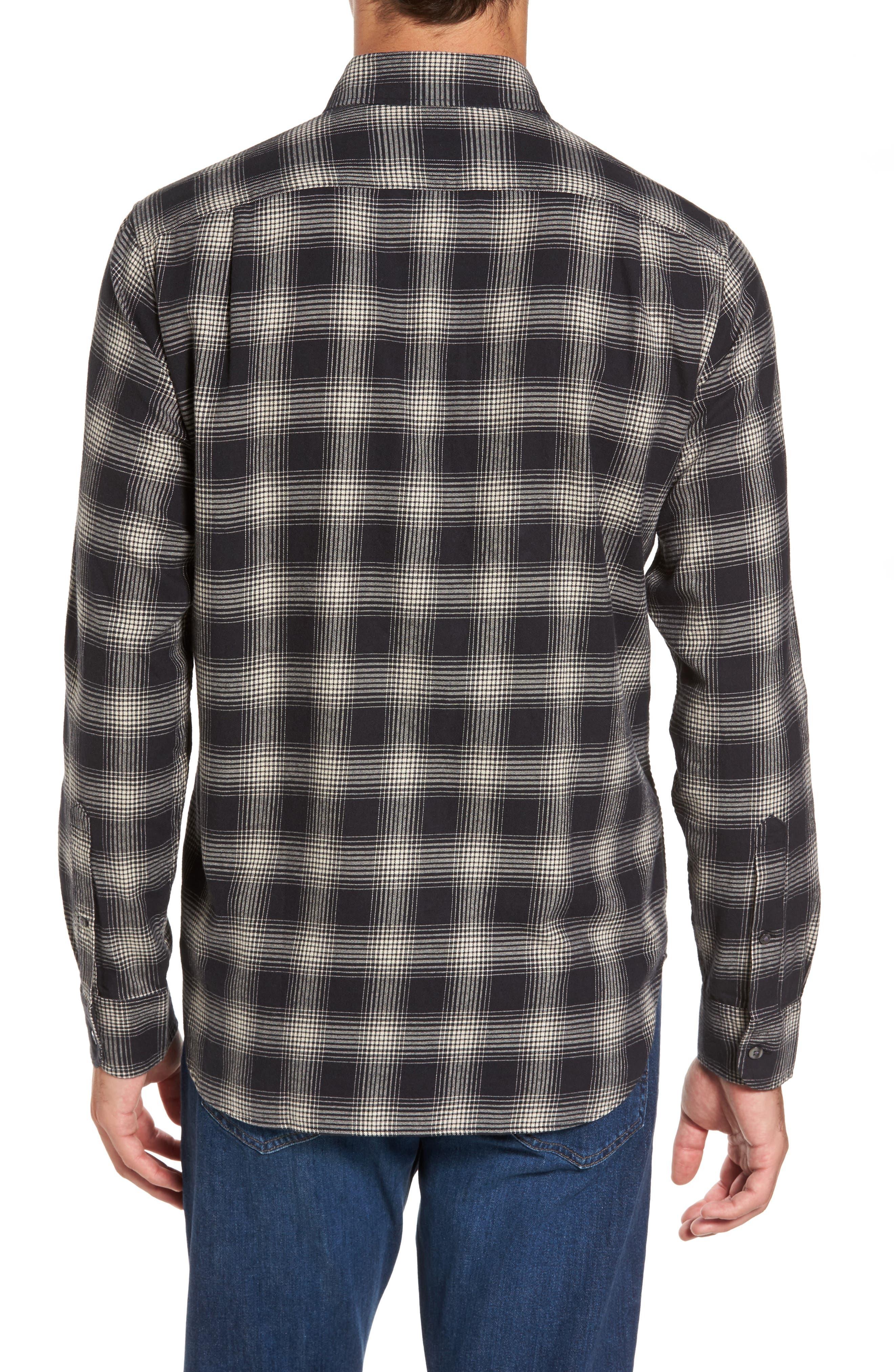 Slim Fit Plaid Brushed Twill Sport Shirt,                             Alternate thumbnail 2, color,                             Black/ Brown Plaid