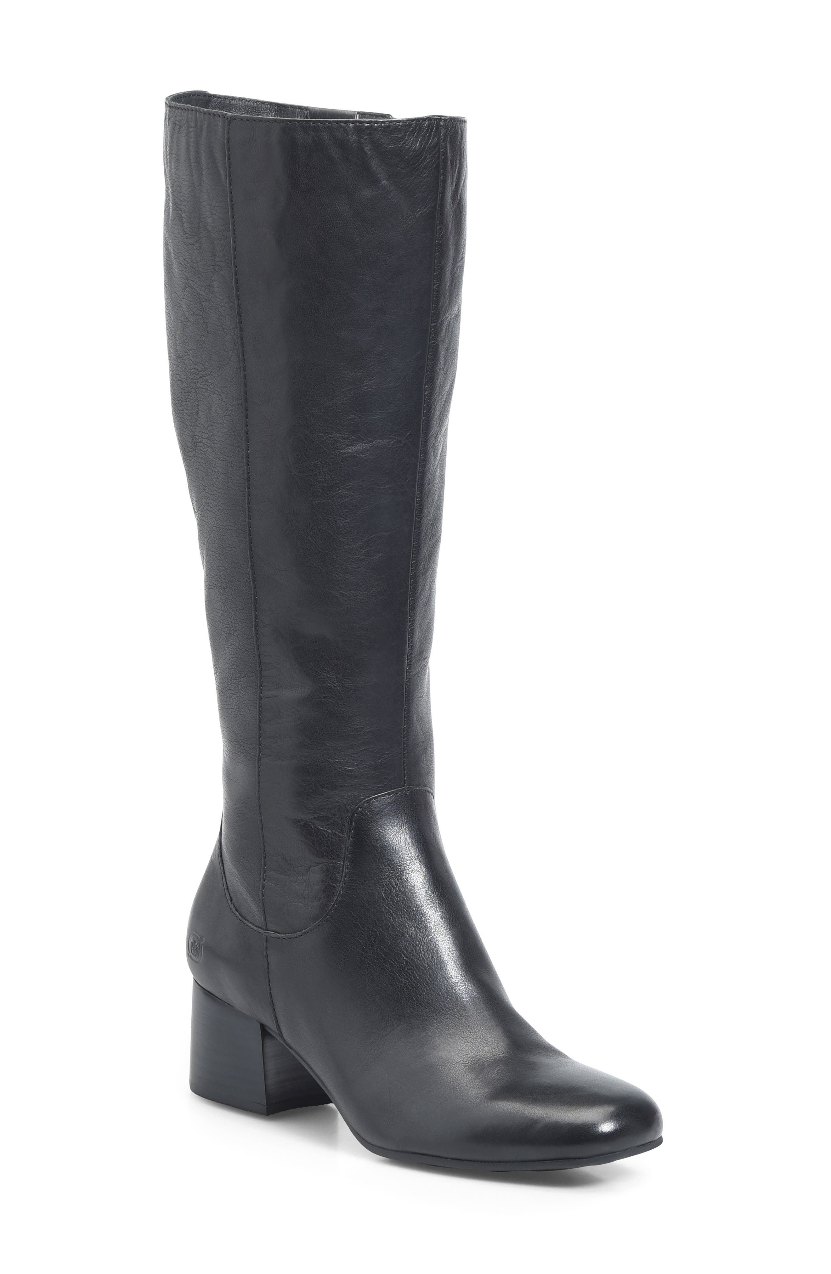 Avala Knee High Boot,                         Main,                         color, Black Leather