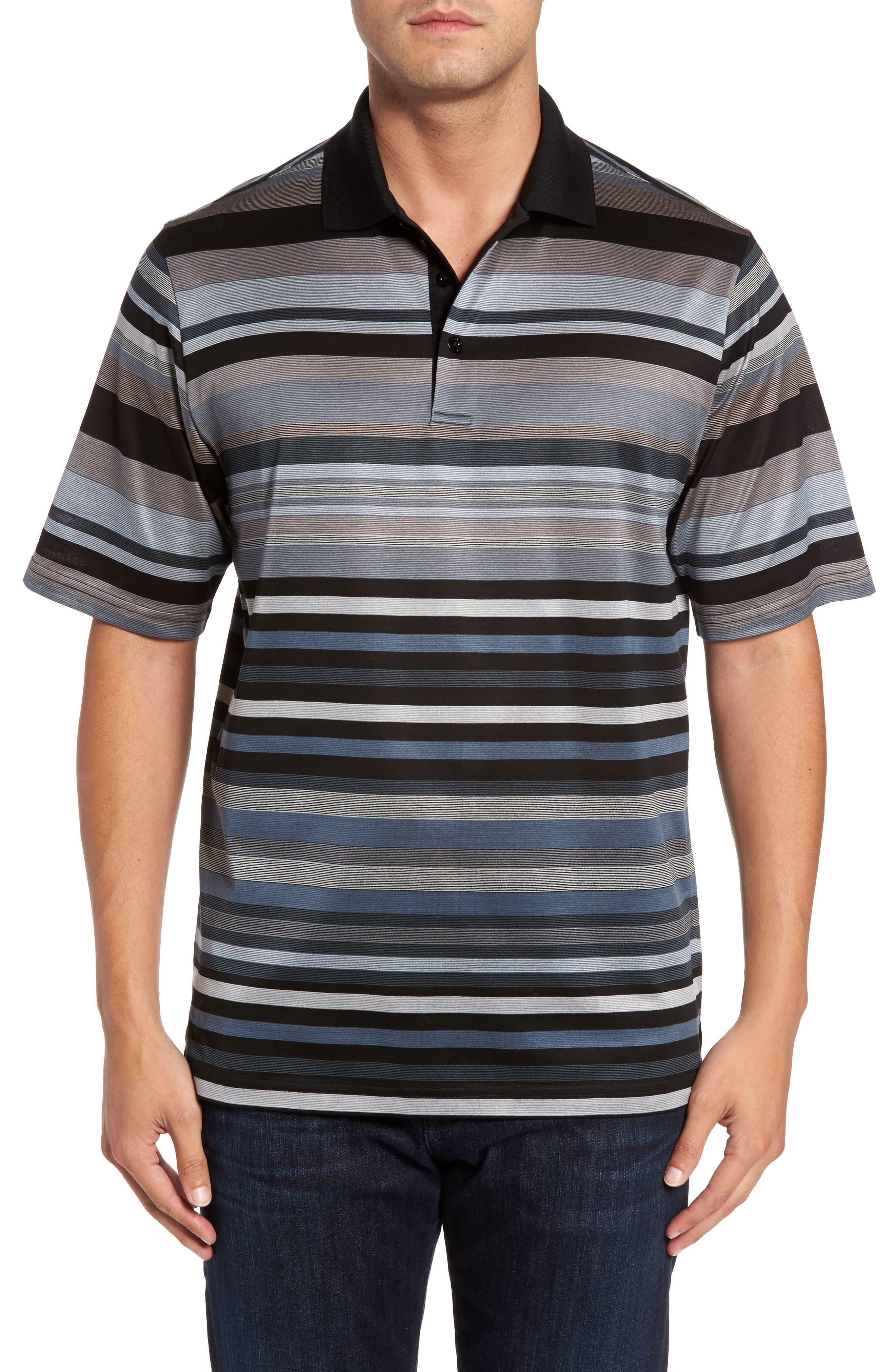 Classic Fit Stripe Polo,                         Main,                         color, Black