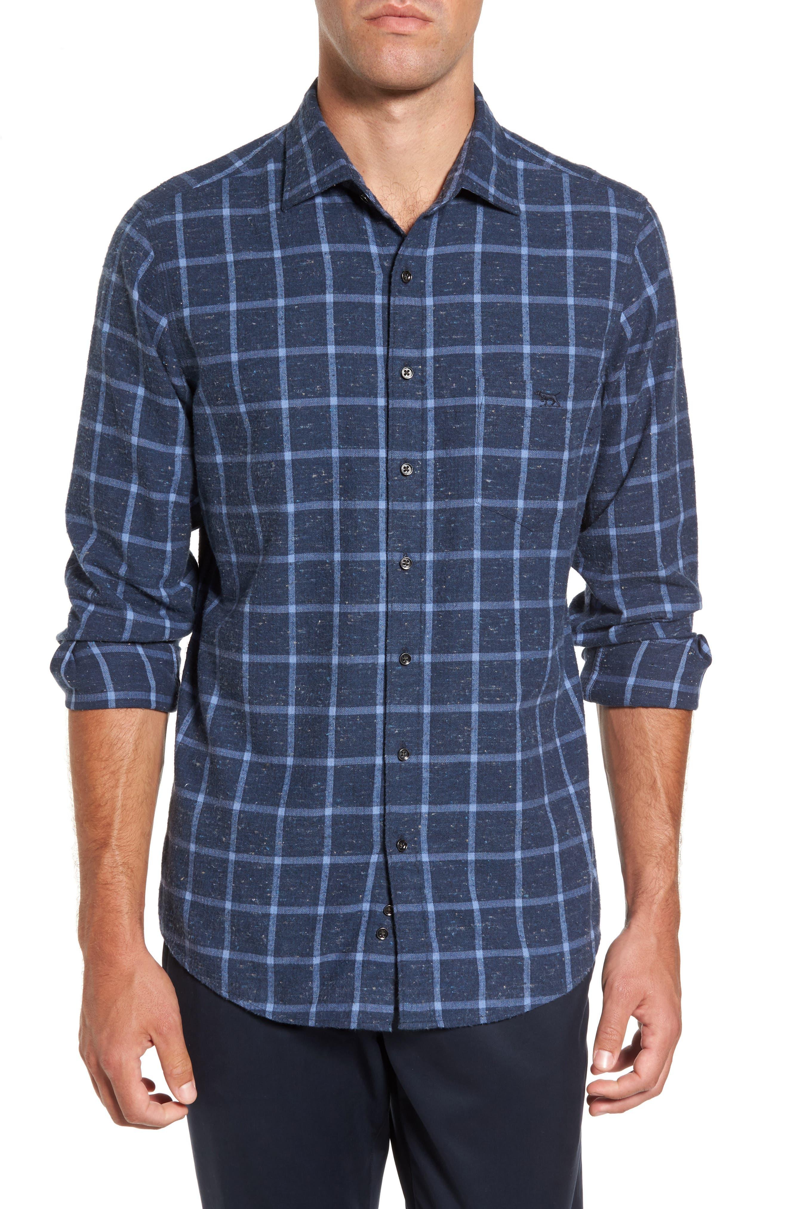 Paringa Sports Fit Windowpane Sport Shirt,                         Main,                         color, Bluestone