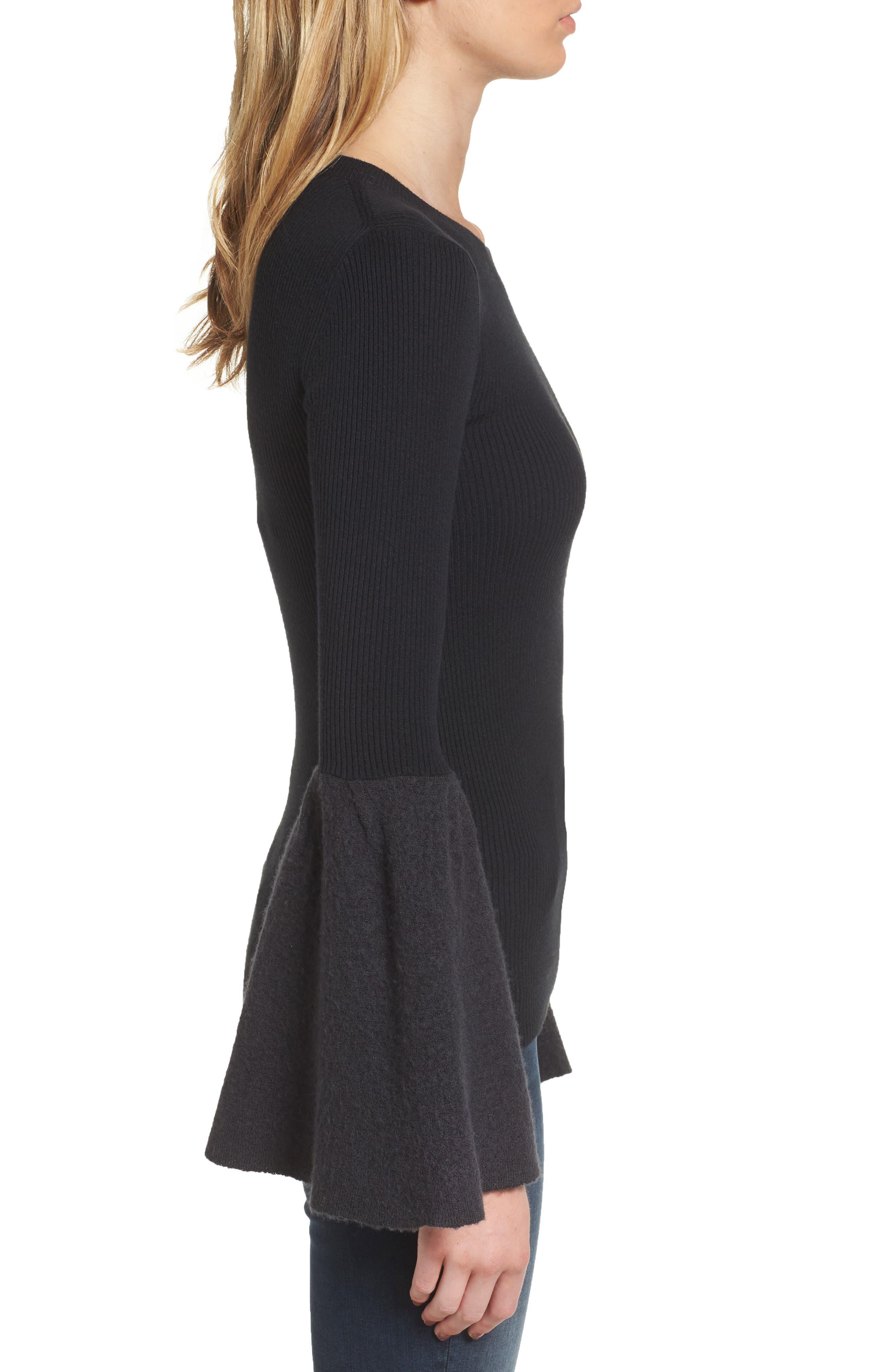 Bell Sleeve Sweater,                             Alternate thumbnail 3, color,                             Black- Grey Dark Heather Combo
