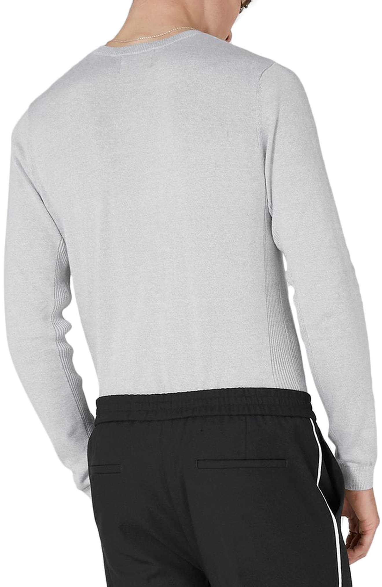 Side Ribbed Slim Fit Sweater,                             Alternate thumbnail 2, color,                             Grey
