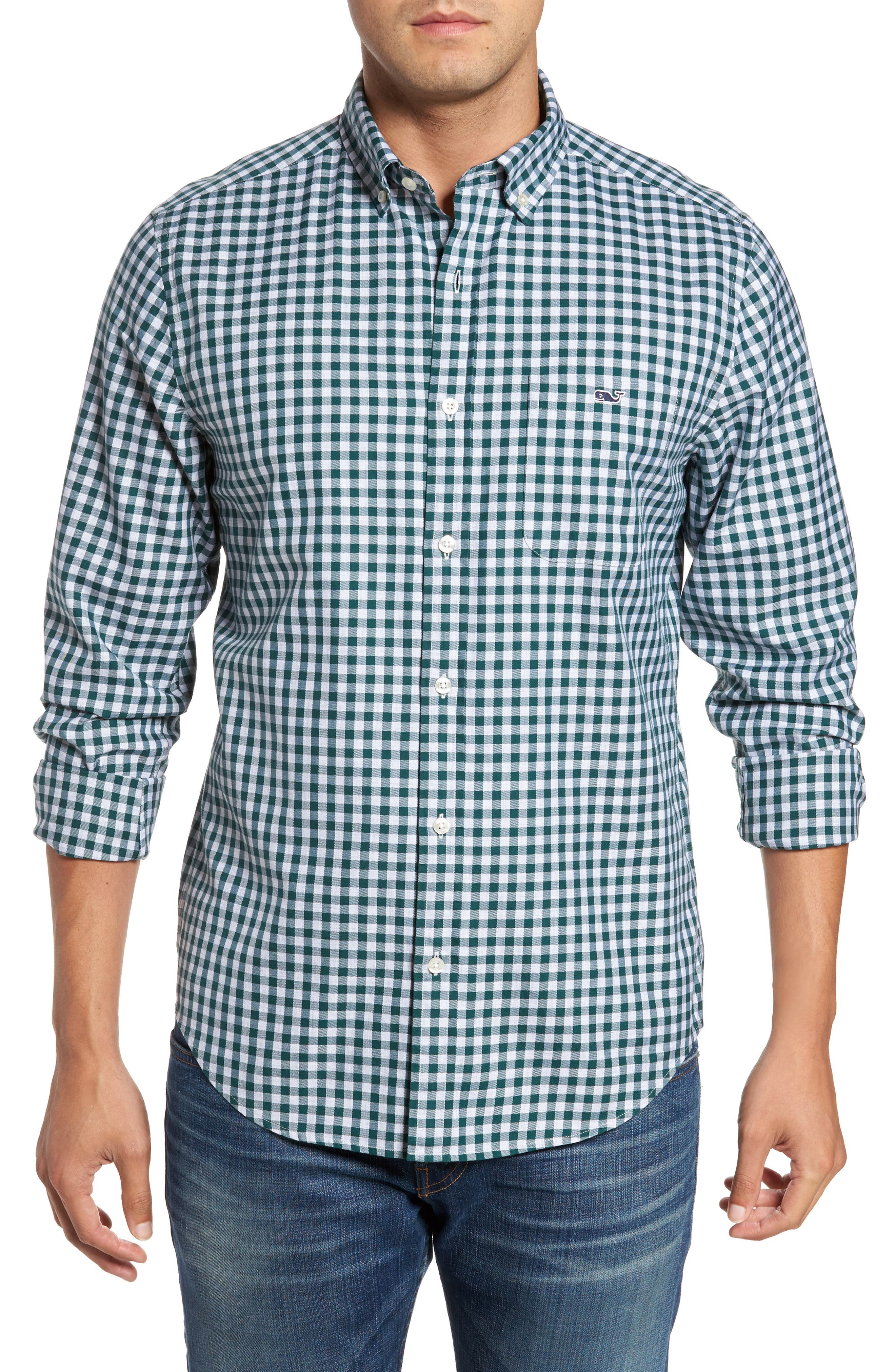Classic Fit Tucker Cliff Gingham Sport Shirt,                         Main,                         color, Charleston Green