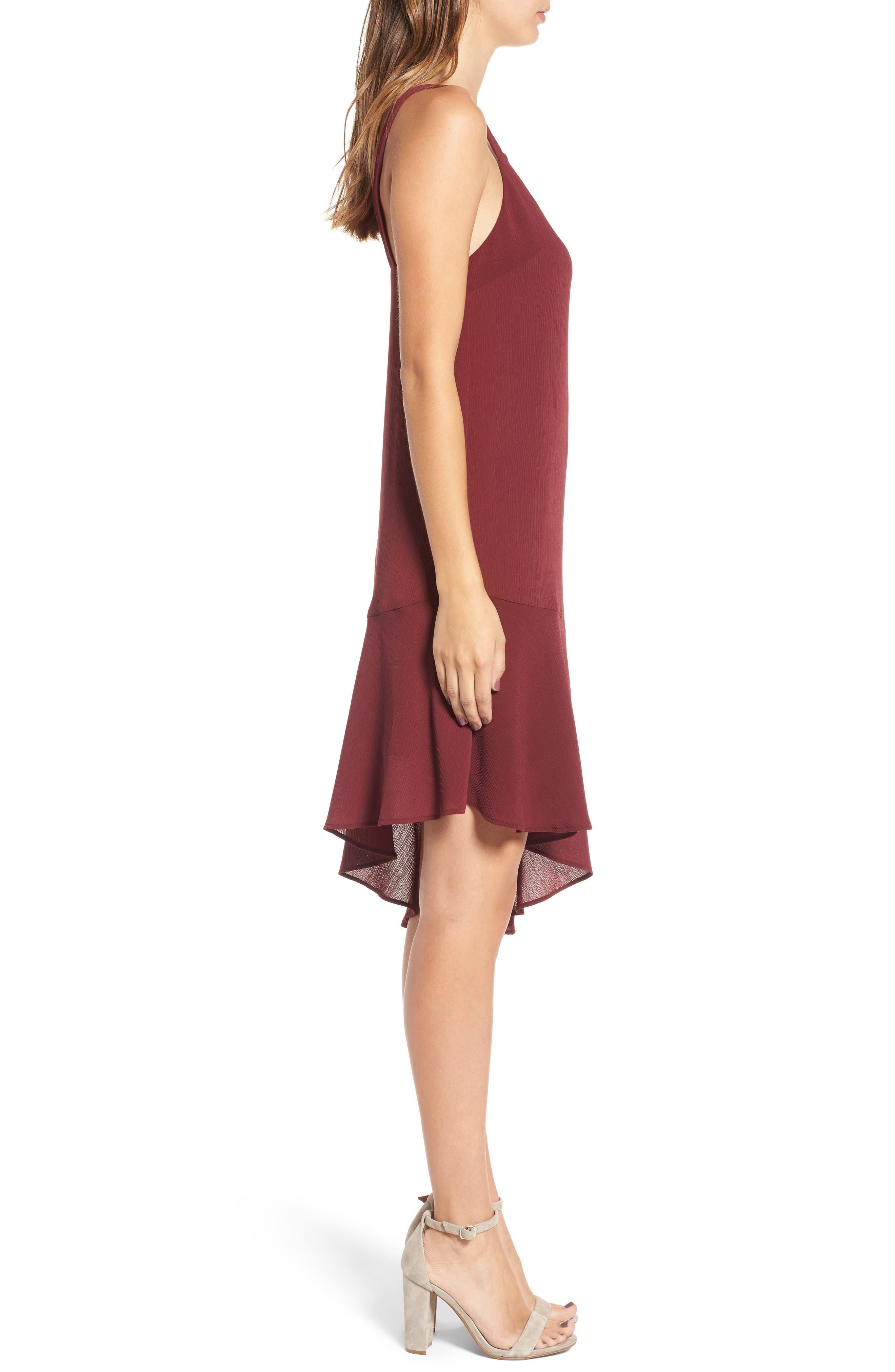 Asymmetrical Ruffle Hem Dress,                             Alternate thumbnail 3, color,                             Red Tannin