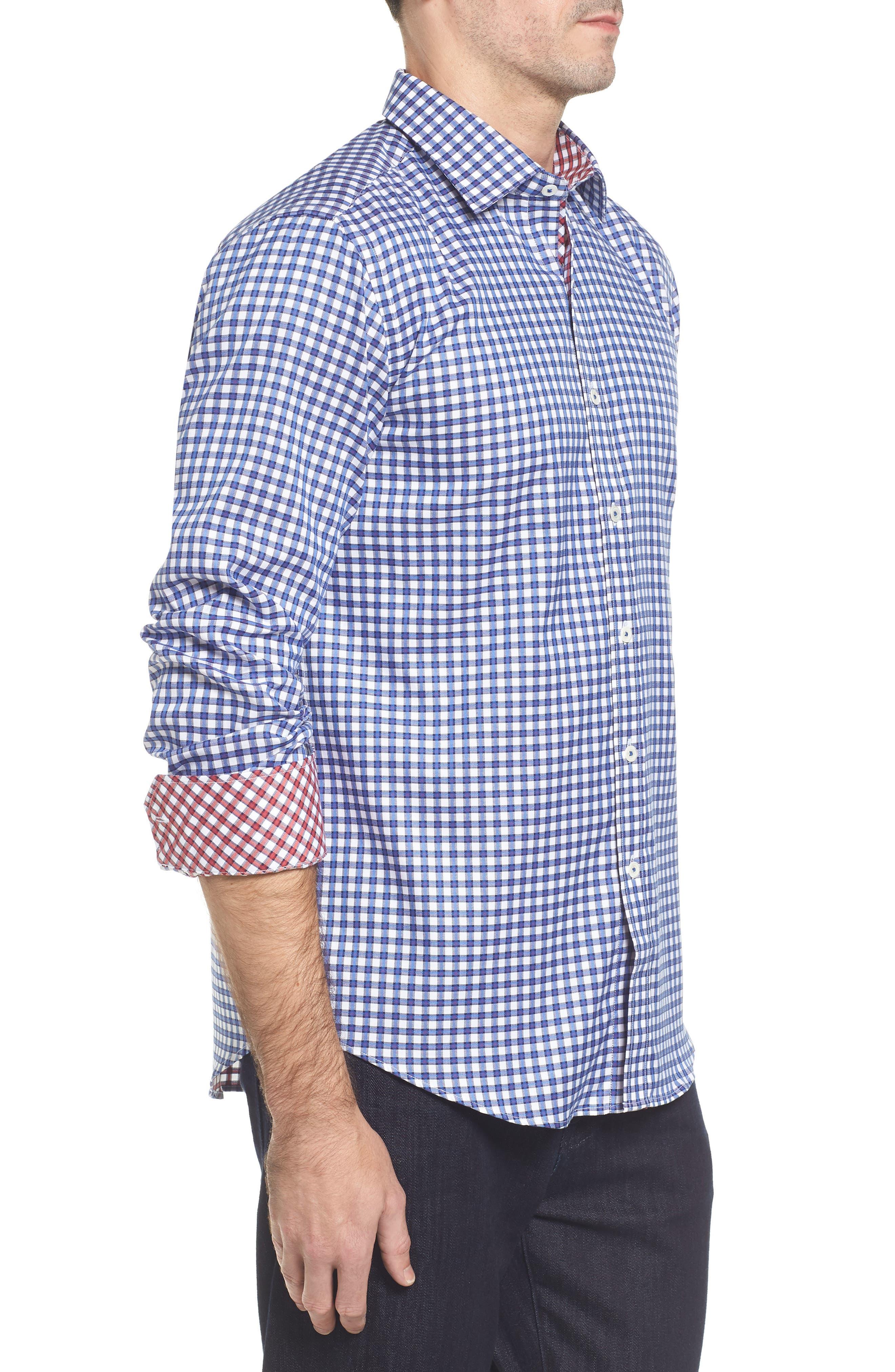 Slim Fit Check Sport Shirt,                             Alternate thumbnail 3, color,                             Classic Blue