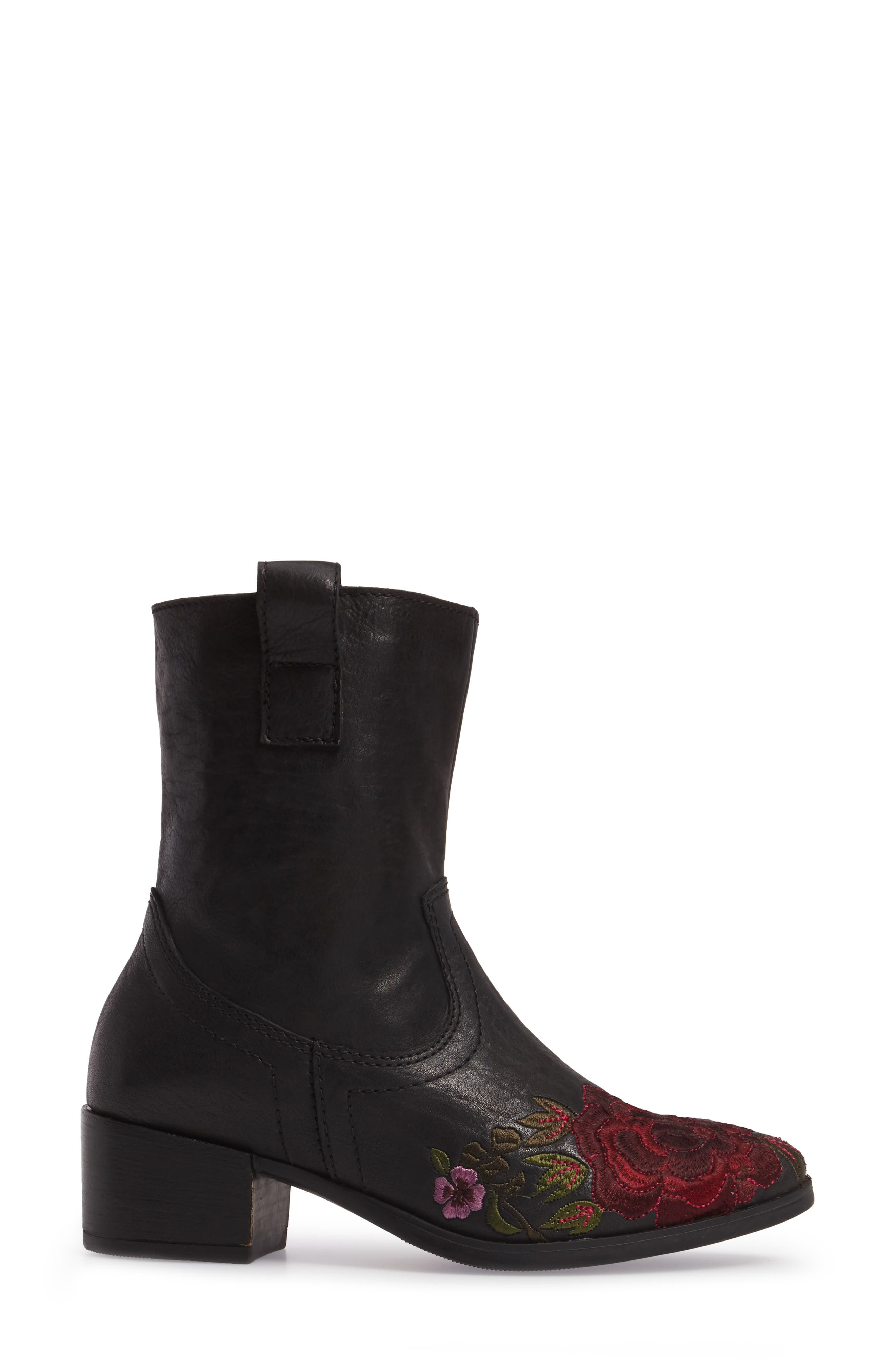 Shallot Floral Embroidered Bootie,                             Alternate thumbnail 3, color,                             Black Leather