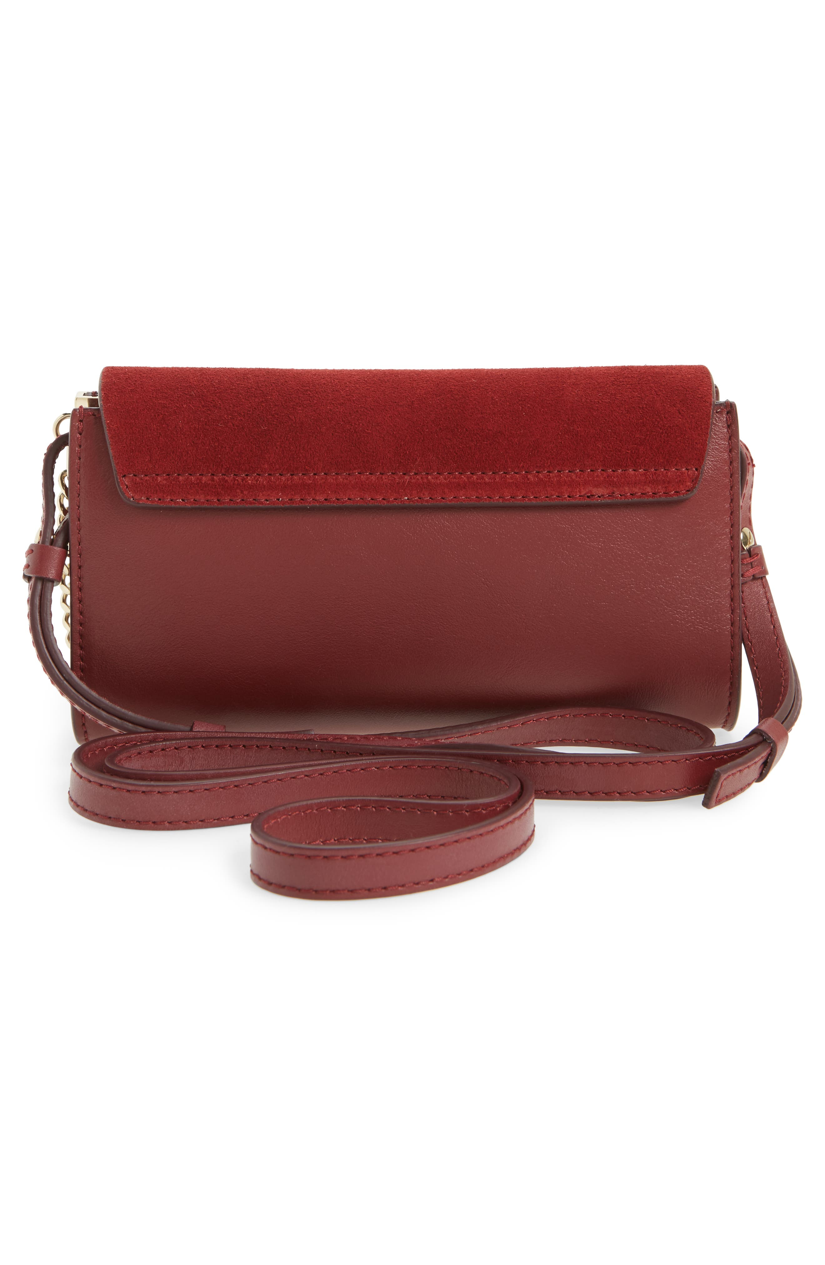 Mini Faye Suede & Leather Wallet on a Chain,                             Alternate thumbnail 3, color,                             Plum