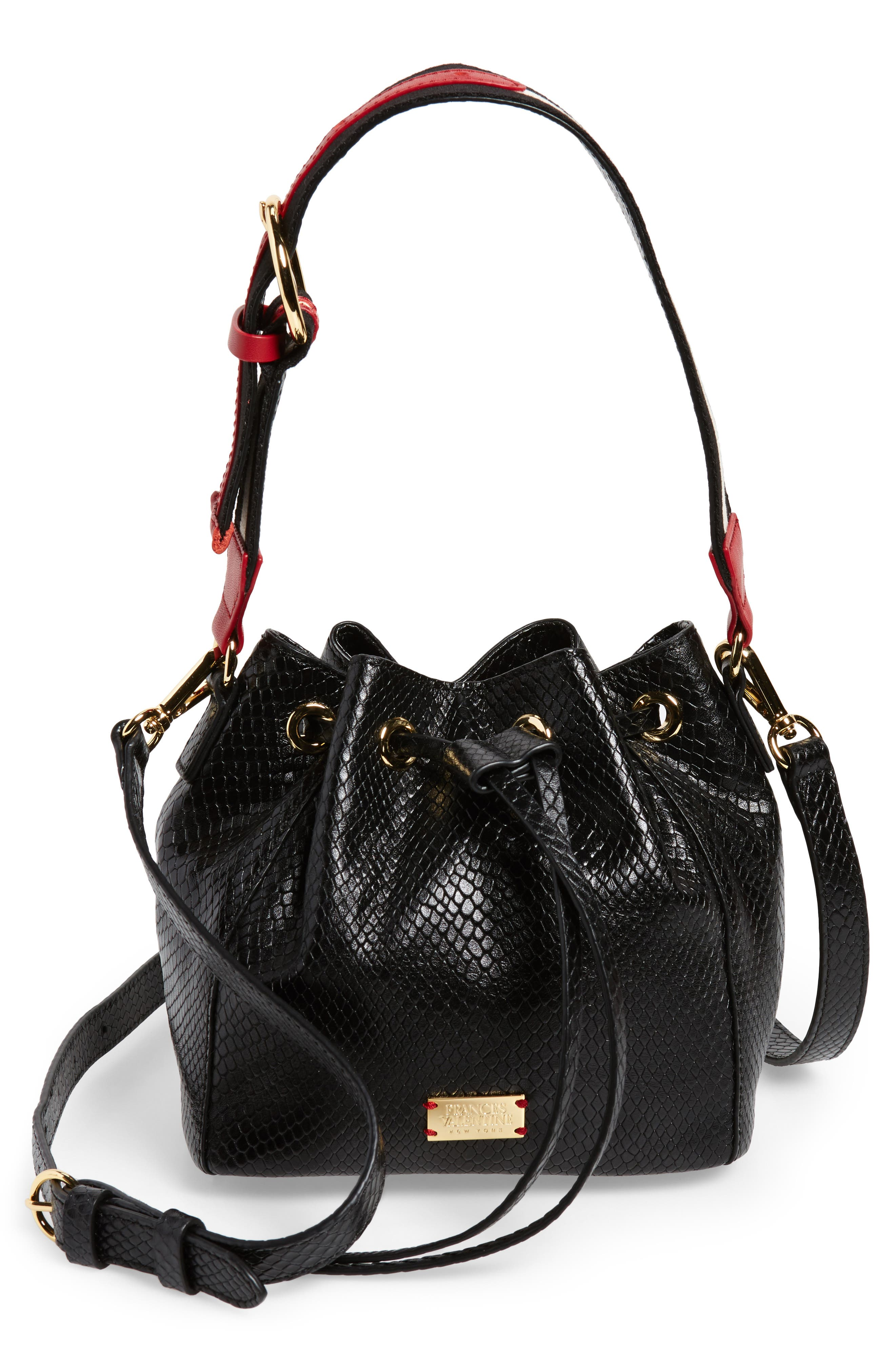 Small Snakeskin Embossed Leather Bucket Bag,                             Main thumbnail 1, color,                             Black