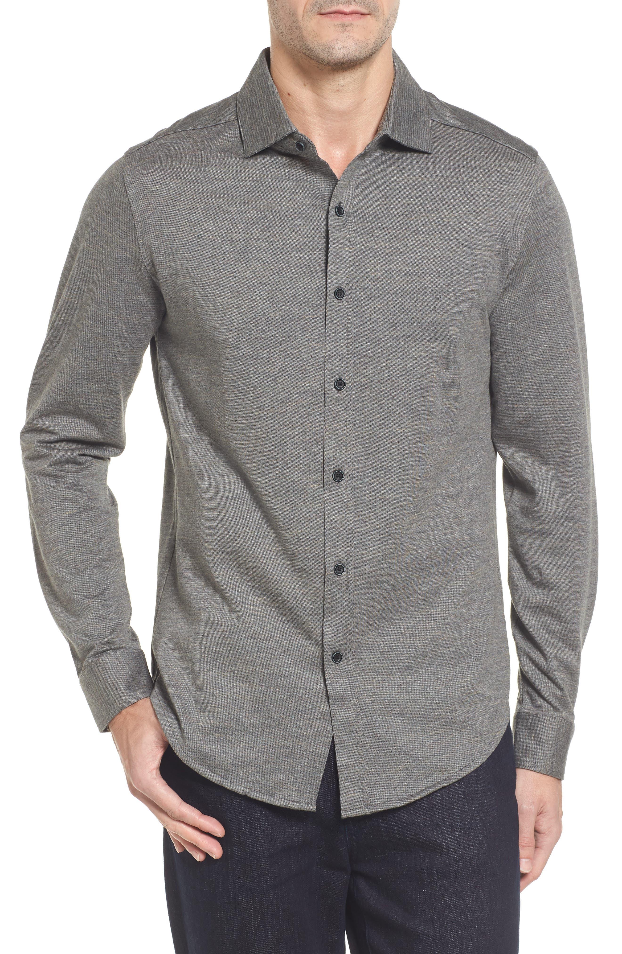 Regular Fit Piqué Knit Sport Shirt,                         Main,                         color, Graphite
