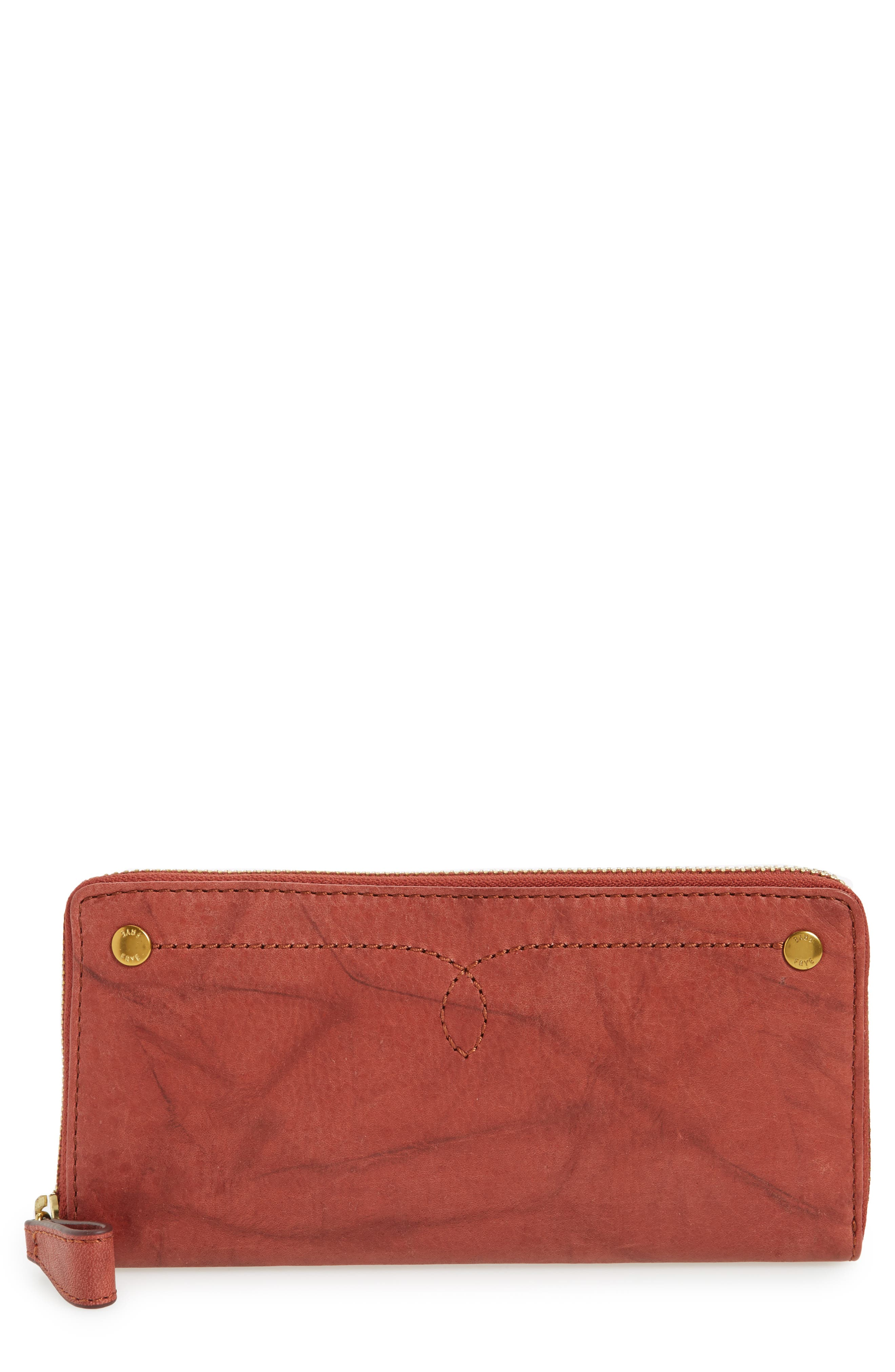 Frye Campus Rivet Leather Continental Zip Wallet