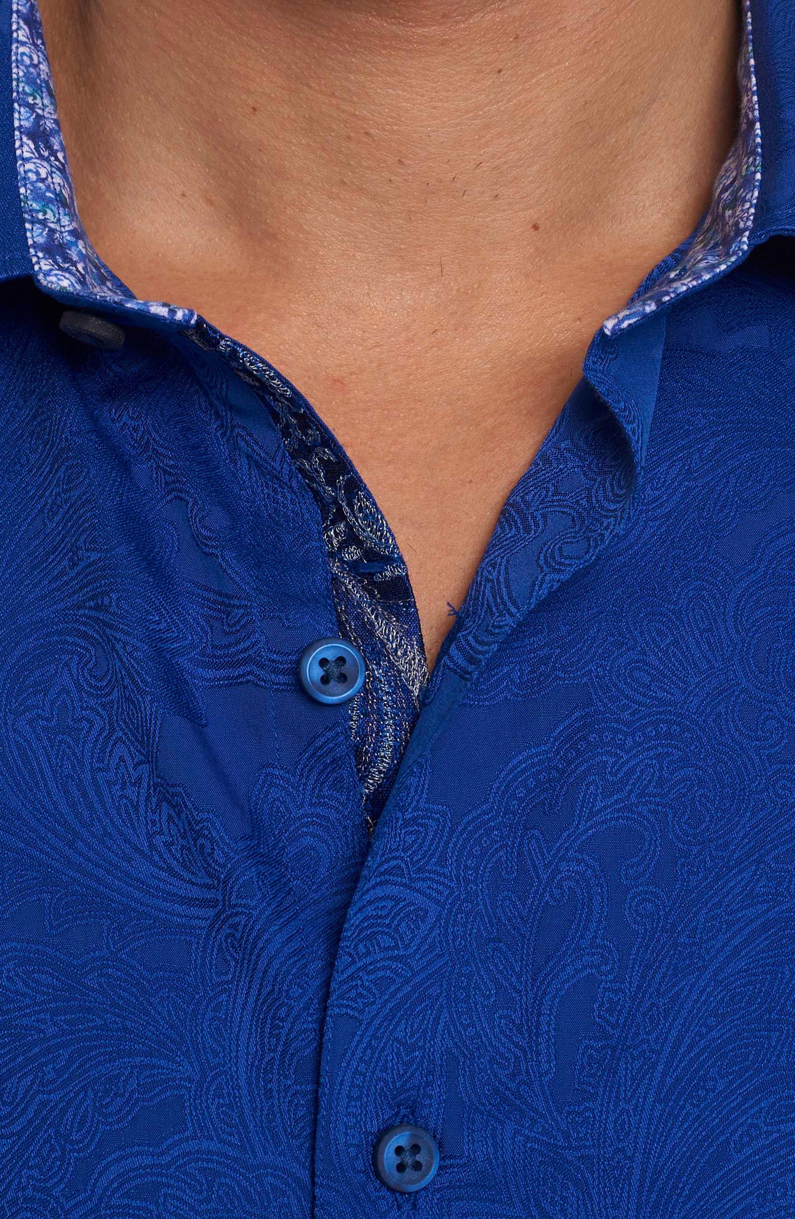 Rosendale Classic Fit Jacquard Sport Shirt,                             Alternate thumbnail 3, color,                             Cobalt