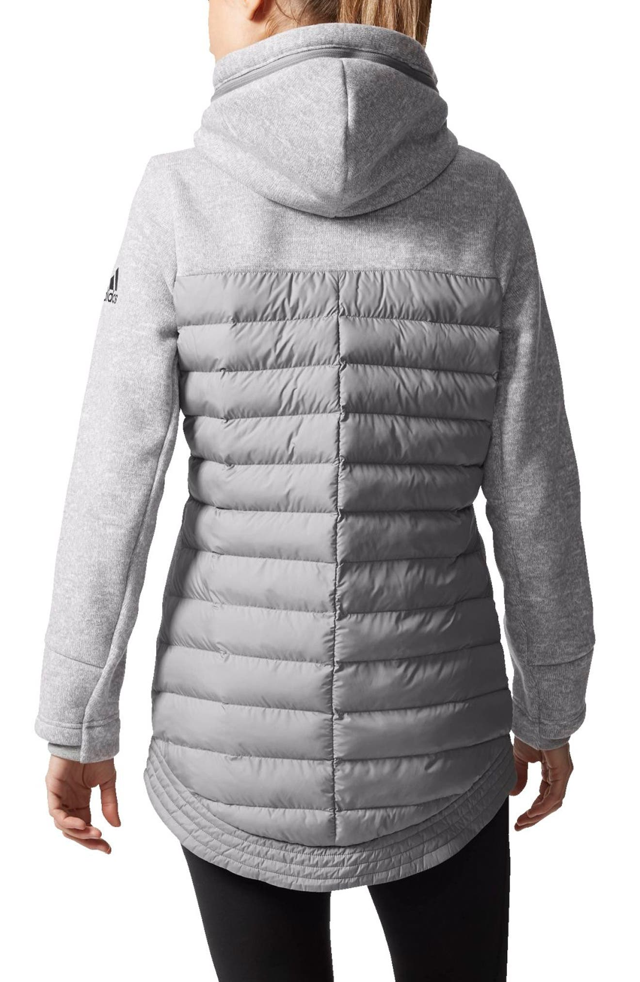 Nuvic Hybrid 2 Fleece/Puffer Jacket,                             Alternate thumbnail 2, color,                             Medium Grey Heather/Solid Grey