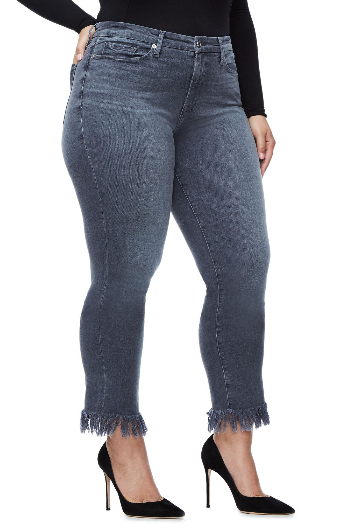 Alternate Image 10  - Good American Good Straight Crop Straight Leg Jeans (Grey 001) (Extended Sizes)