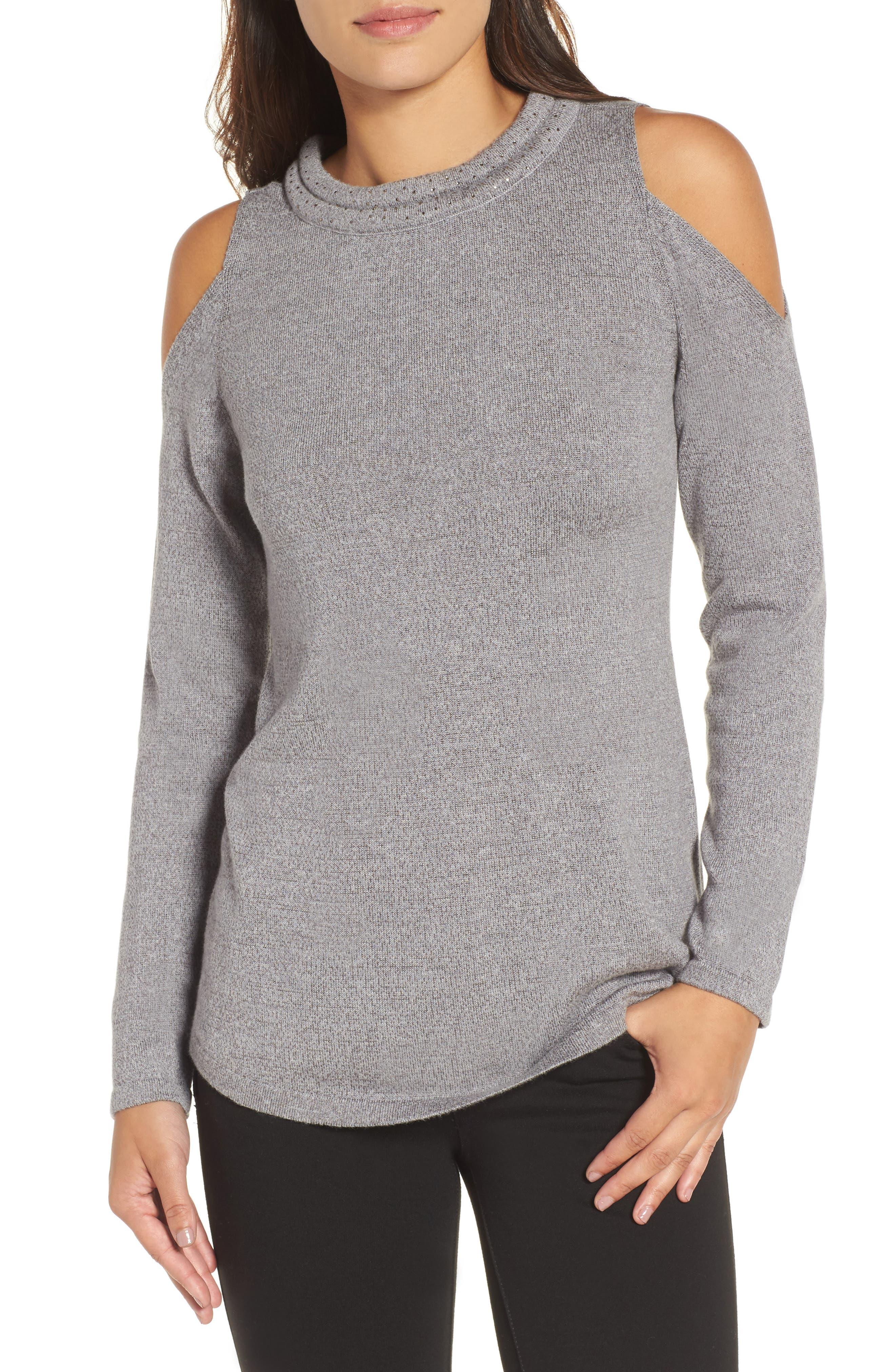 Alternate Image 1 Selected - NIC+ZOE Jewel Neck Cold Shoulder Top (Regular & Petite)